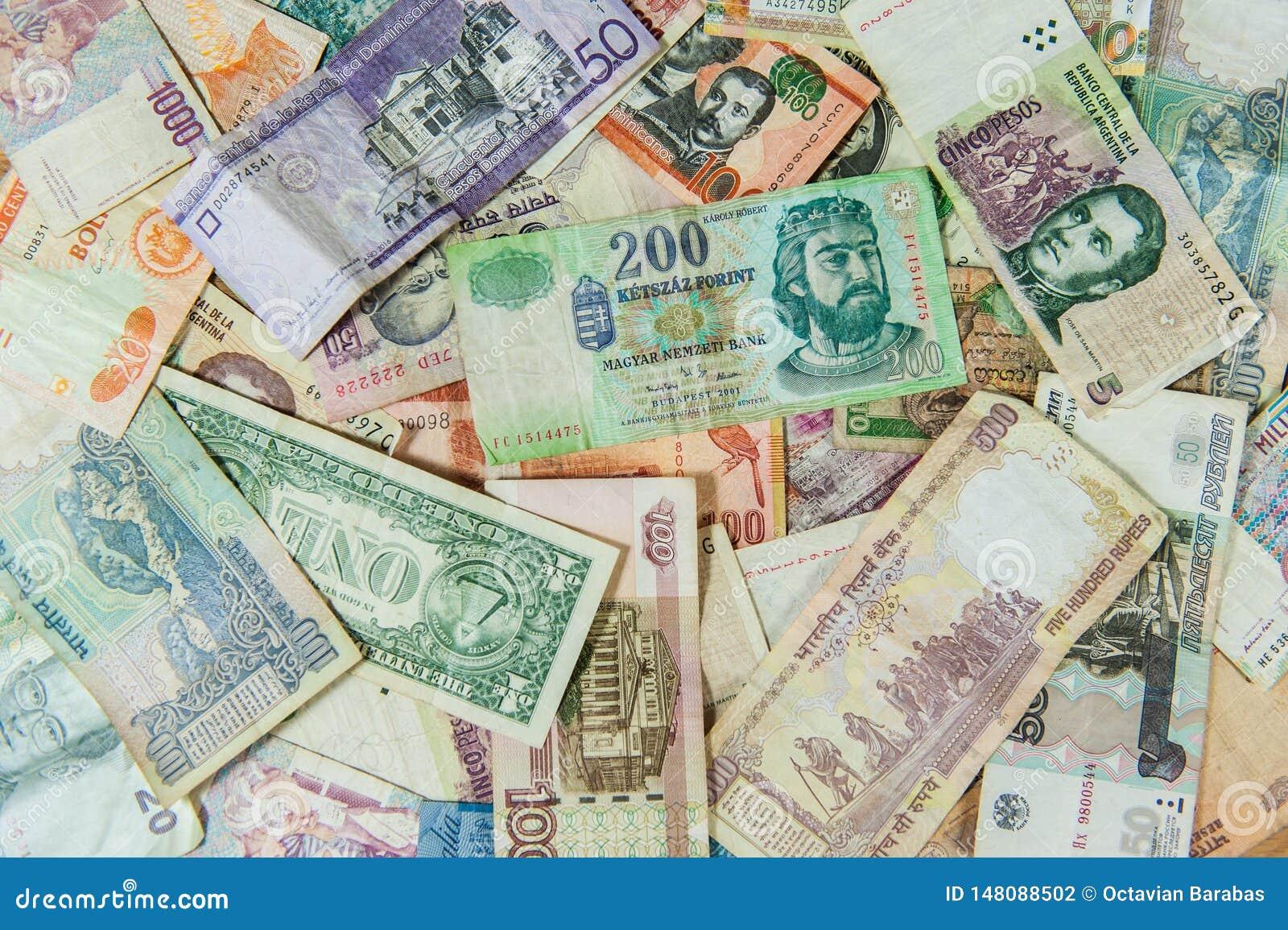 Υπόβαθρο φιαγμένο από διεθνείς λογαριασμούς/τραπεζογραμμάτια χρημάτων