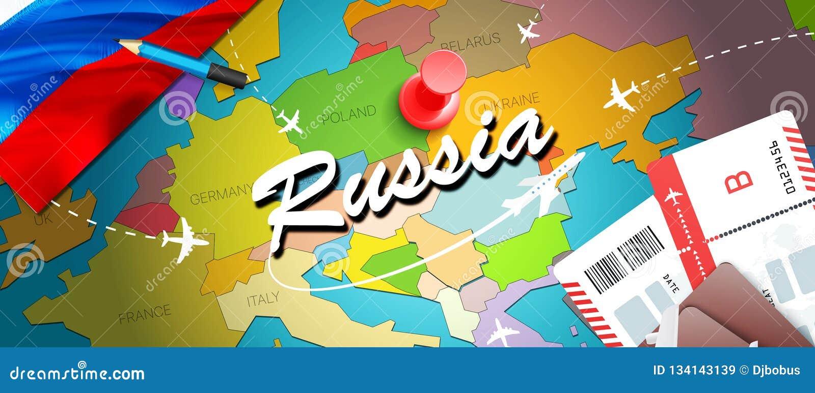 Υπόβαθρο χαρτών έννοιας ταξιδιού της Ρωσίας με τα αεροπλάνα, εισιτήρια Ταξίδι της Ρωσίας επίσκεψης και έννοια προορισμού τουρισμο