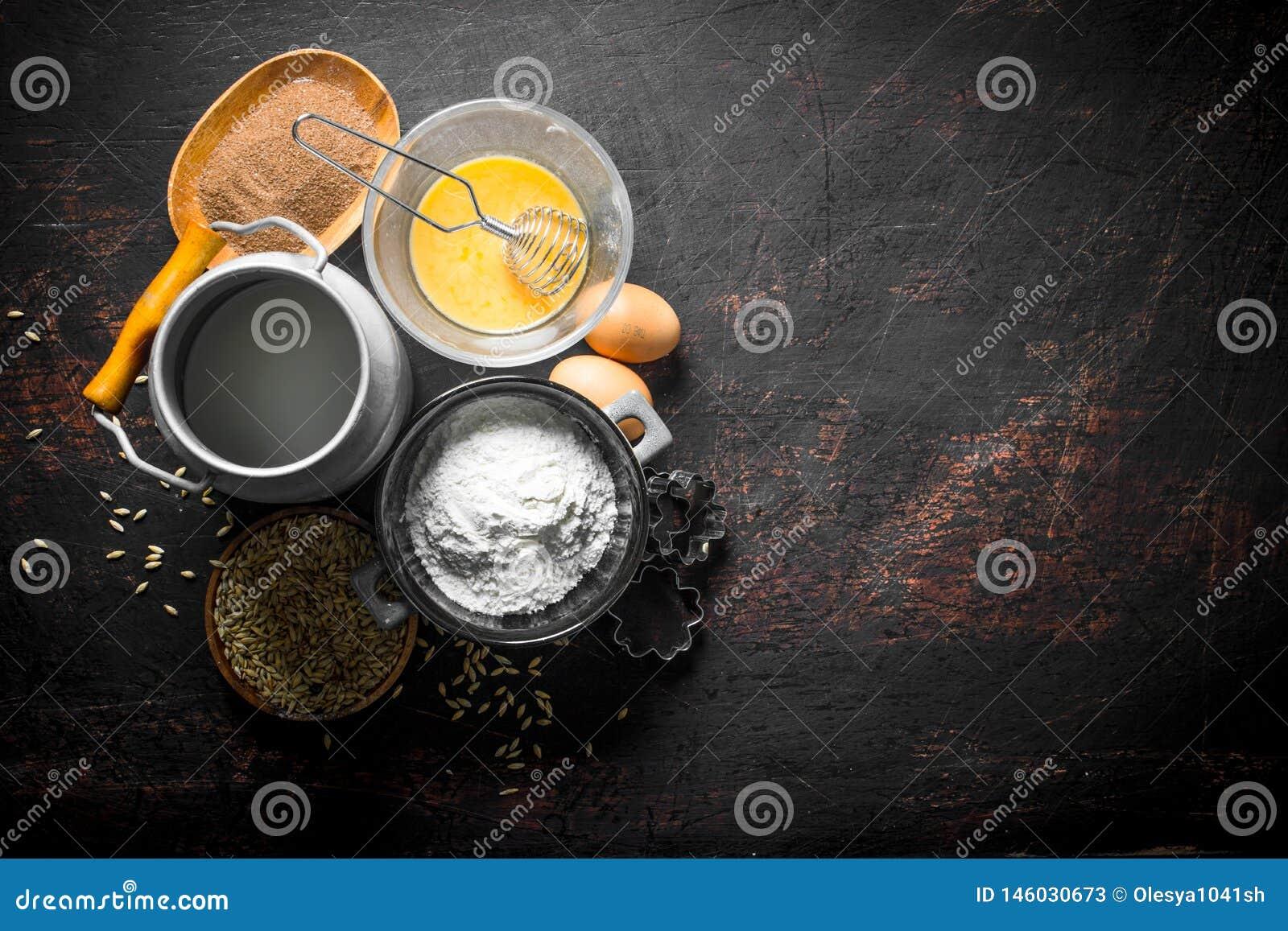 Υπόβαθρο ψησίματος Αλεύρι με το γάλα, το κακάο και το σιτάρι