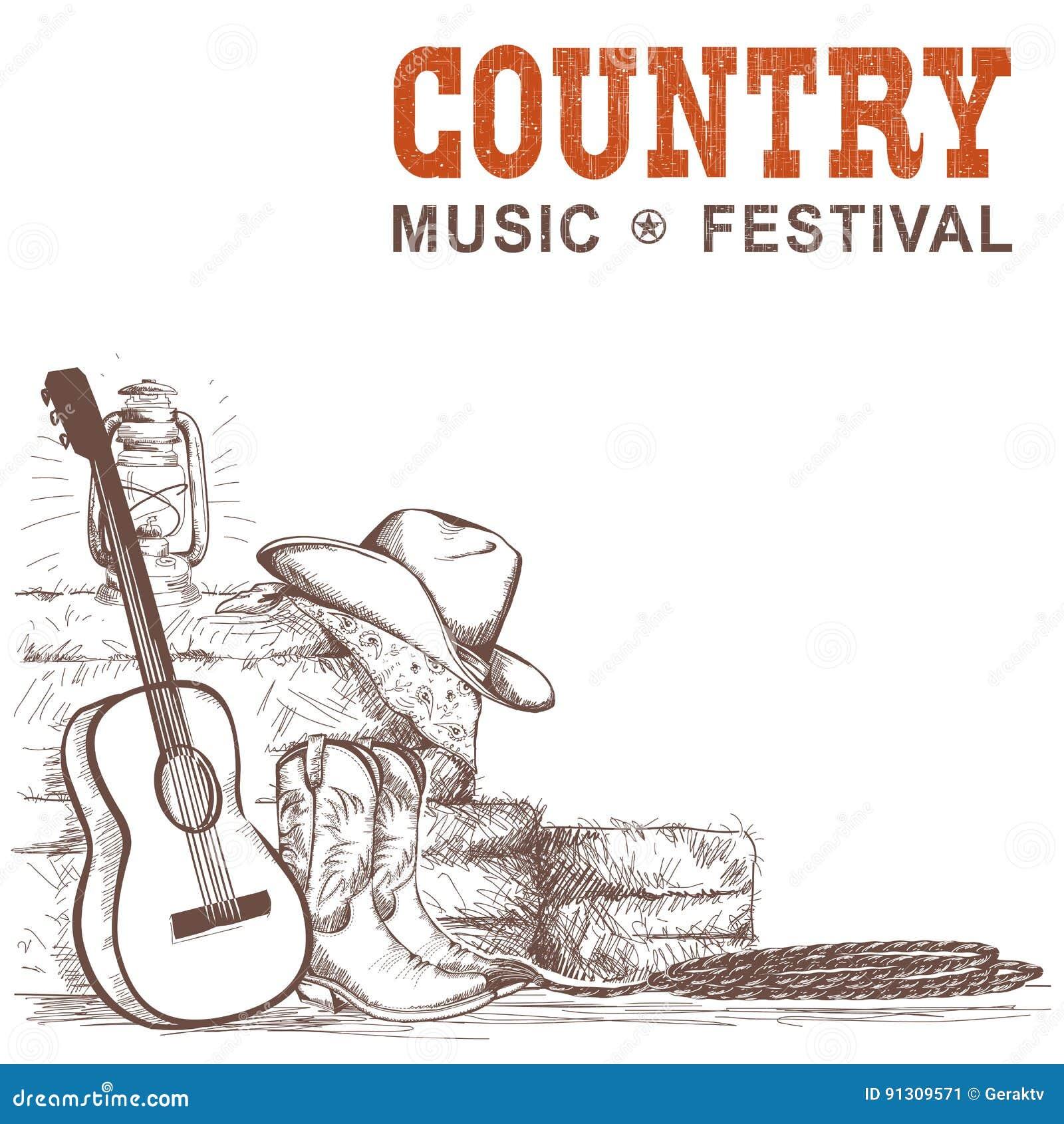 Υπόβαθρο country μουσικής με την κιθάρα και τα αμερικανικά παπούτσια α κάουμποϋ