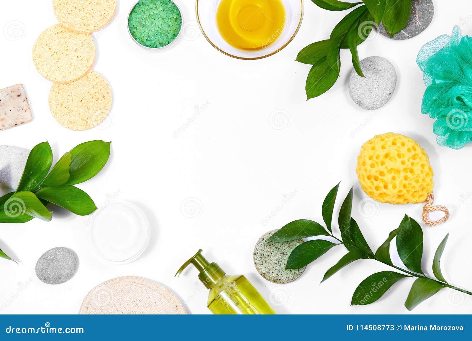 Υπόβαθρο SPA με τα εξαρτήματα λουτρών, το πρόσωπο και την προσοχή σώματος Σύνολο για την προσωπική φροντίδα Καθαρό δέρμα με τη βο