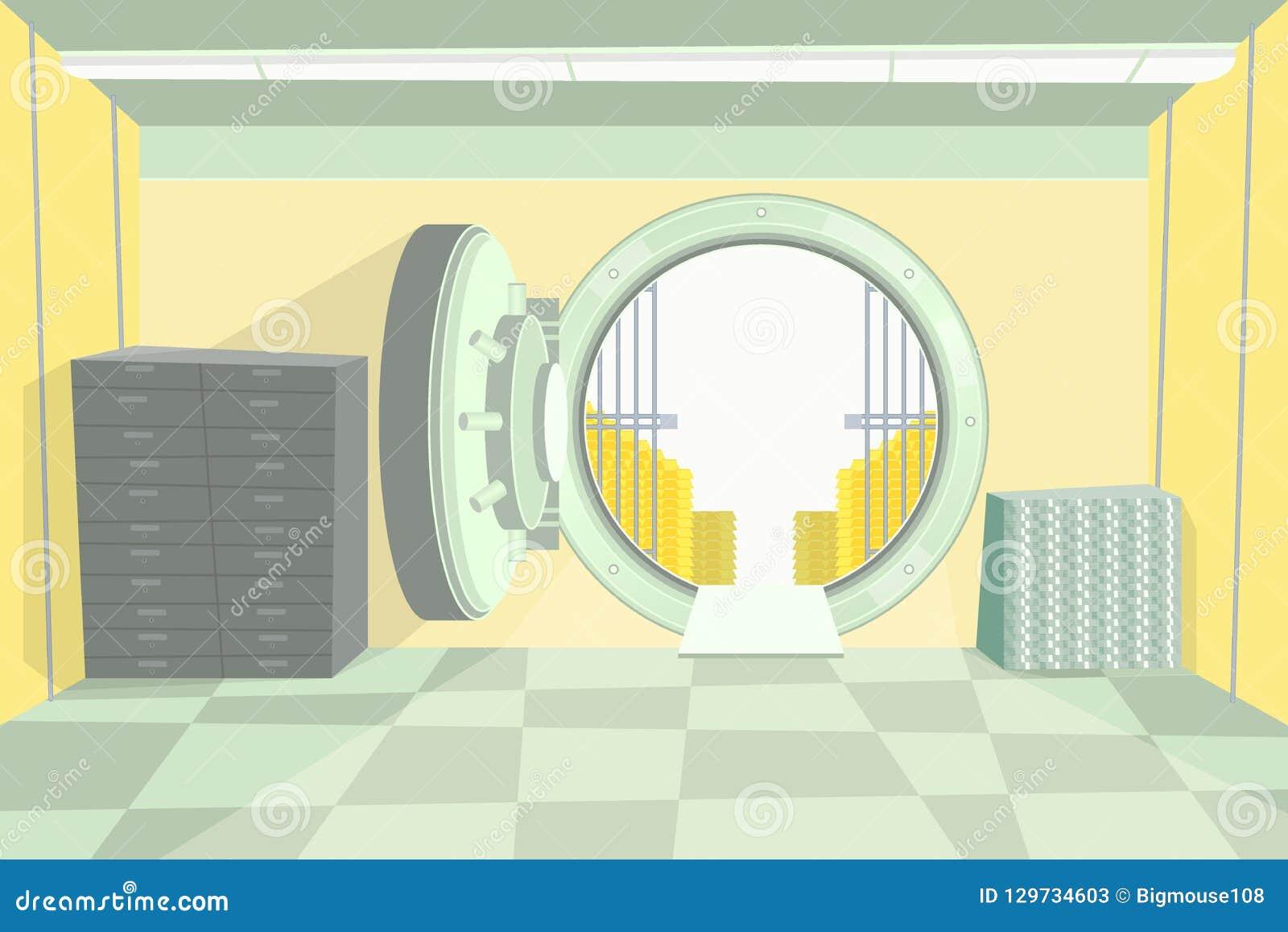 Υπόγειος θάλαμος τράπεζας χρώματος κινούμενων σχεδίων μέσα στο εσωτερικό διάνυσμα