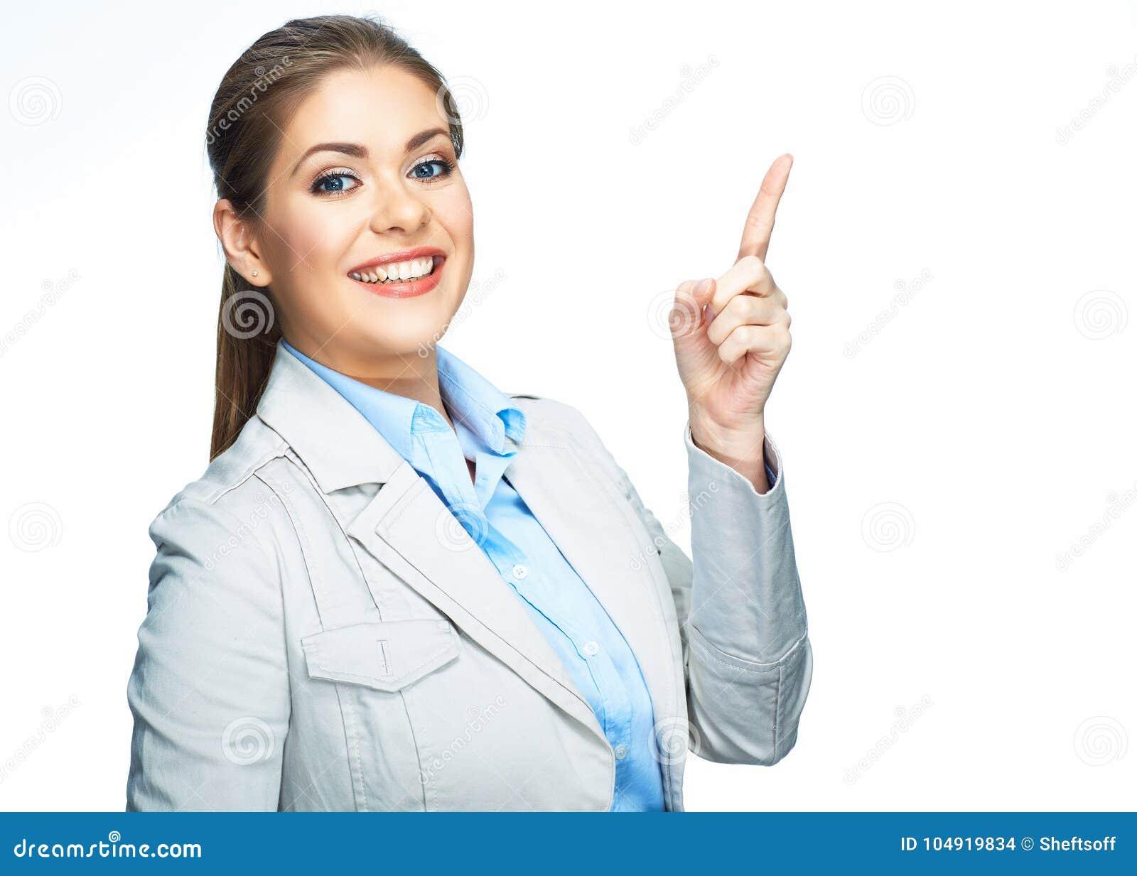 υπόδειξη δάχτυλων επιχειρησιακή χαμογελώ&n