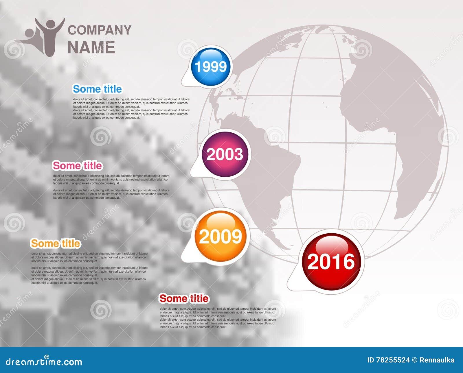 Υπόδειξη ως προς το χρόνο Πρότυπο Infographic για την επιχείρηση Υπόδειξη ως προς το χρόνο με τα ζωηρόχρωμα κύρια σημεία - μπλε,