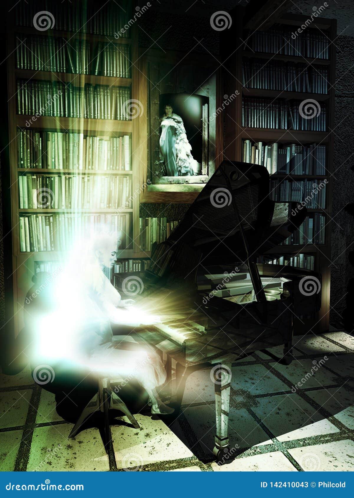 Φάντασμα στο πιάνο στη βιβλιοθήκη