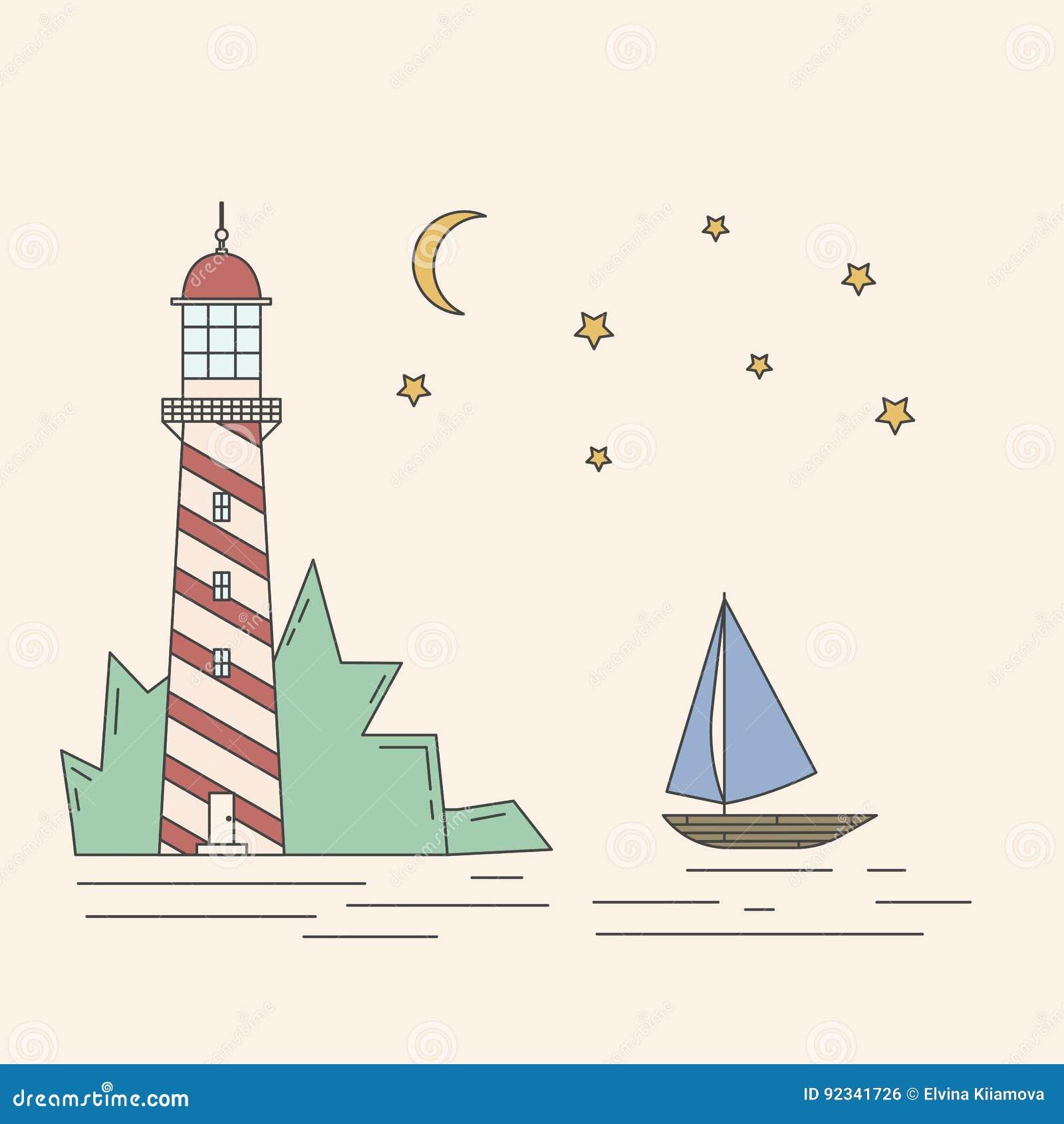 Φάρος, θάλασσα, sailboat, απεικόνιση nightvector σεληνόφωτου