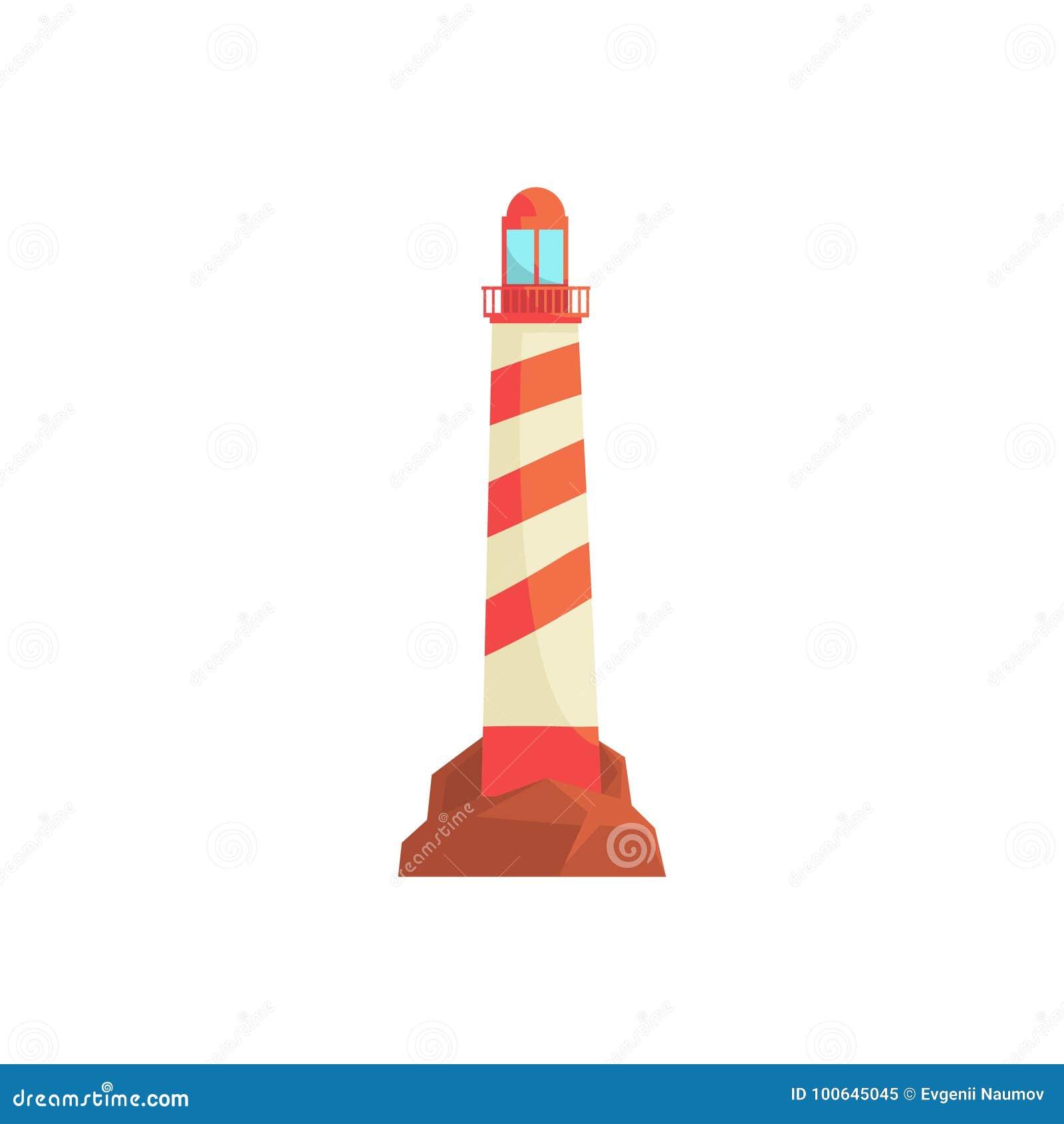 Φάρος, ωκεάνιο αναγνωριστικό σήμα, πύργος προβολέων για τη θαλάσσια διανυσματική απεικόνιση καθοδήγησης ναυσιπλοΐας