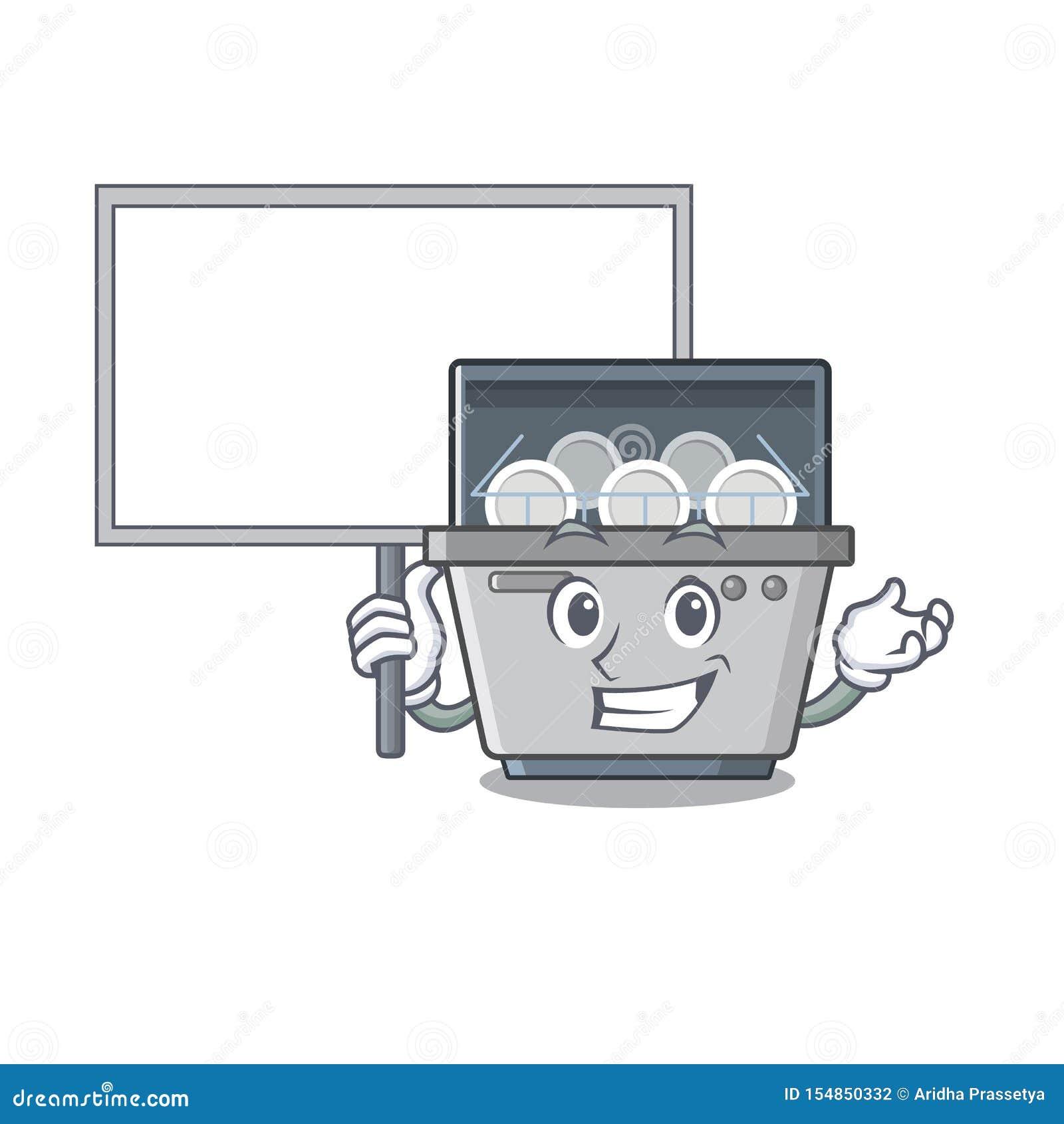 Φέρτε τη μηχανή πλυντηρίων πιάτων μασκότ πινάκων στην κουζίνα