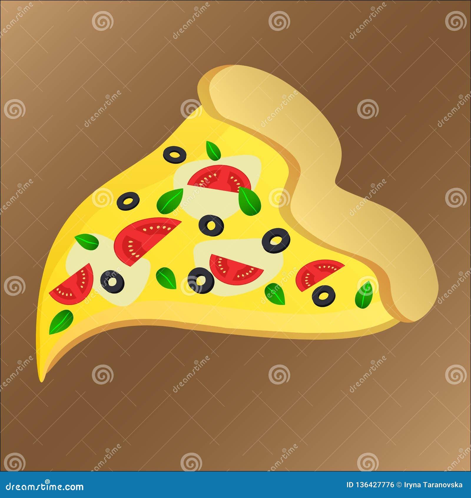 Φέτα της νόστιμης πίτσας με τις ελιές και το τυρί