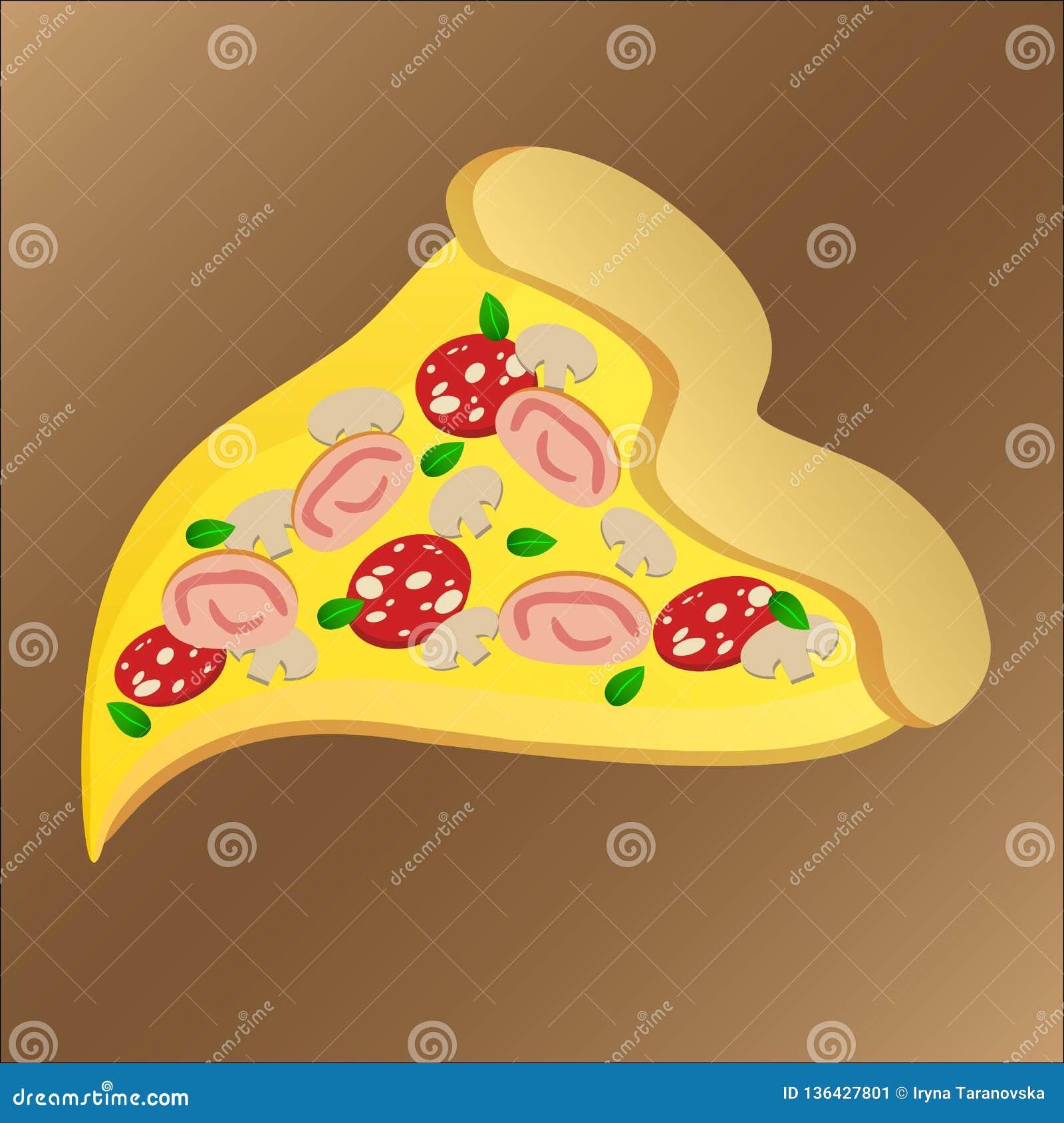 Φέτα της νόστιμης πίτσας με pepperoni και το τυρί