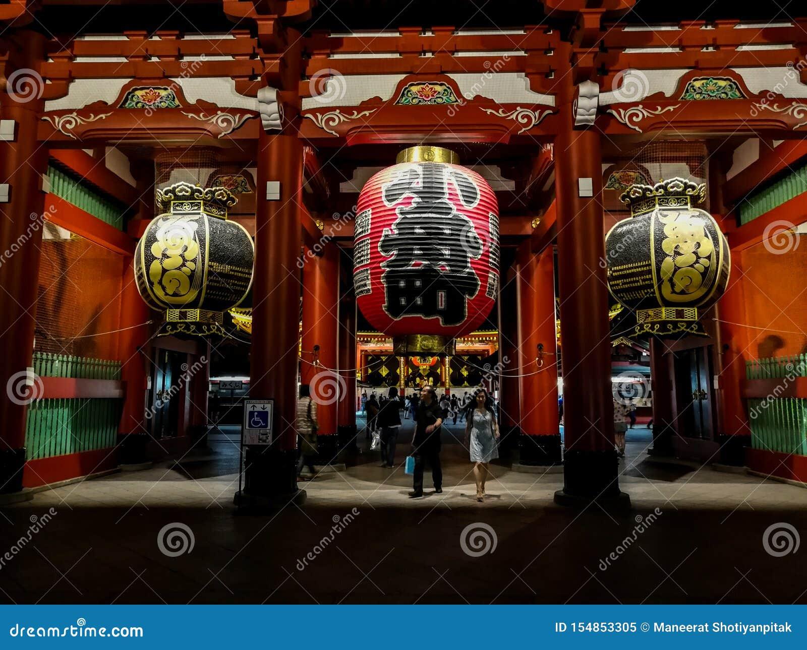 Φανάρια στο ναό ή Asakusa TempleTokyo, Ιαπωνία Sensoji 22 Σεπτεμβρίου 2018
