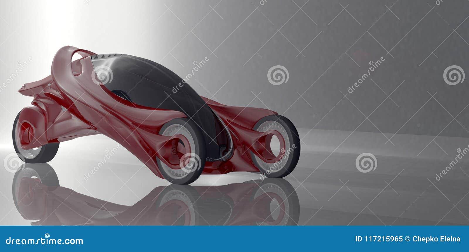 Φανταστική έννοια αυτοκινήτων του μελλοντικού ηλεκτρο τρισδιάστατου rend τριών ροδών