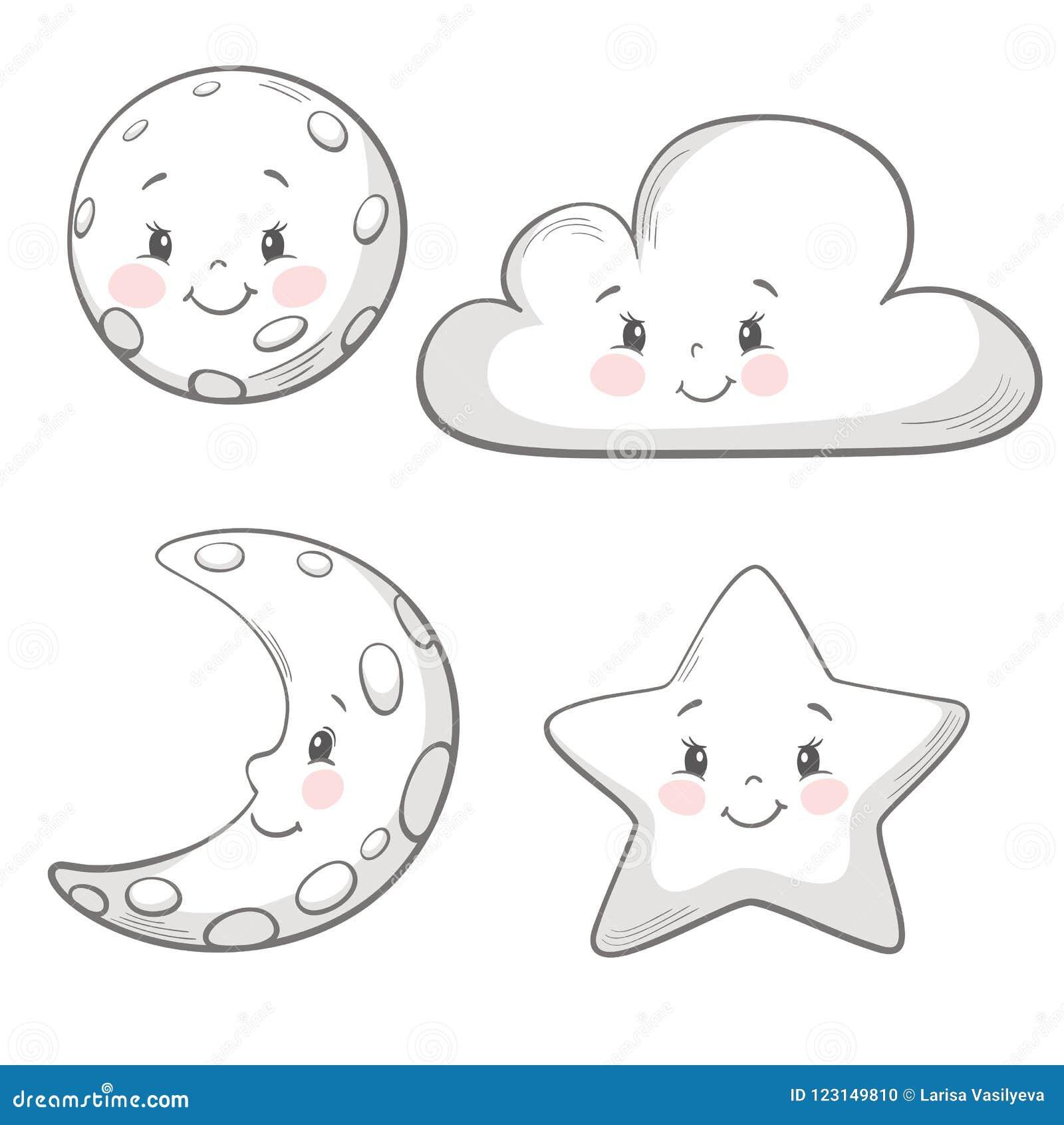 Φεγγάρι, σύννεφο, αστέρι