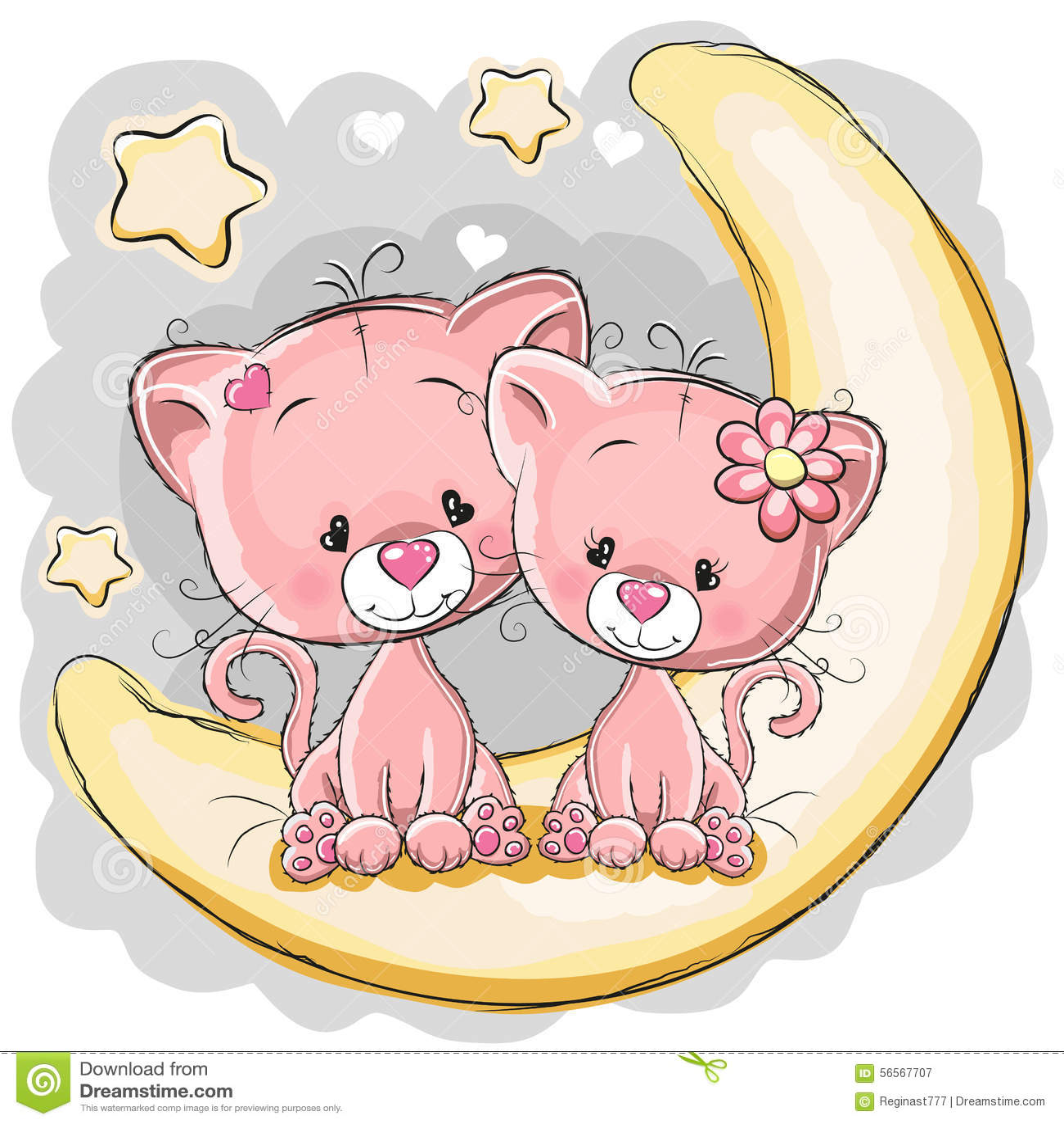 Download φεγγάρι δύο γατών διανυσματική απεικόνιση. εικονογραφία από σχέδιο - 56567707
