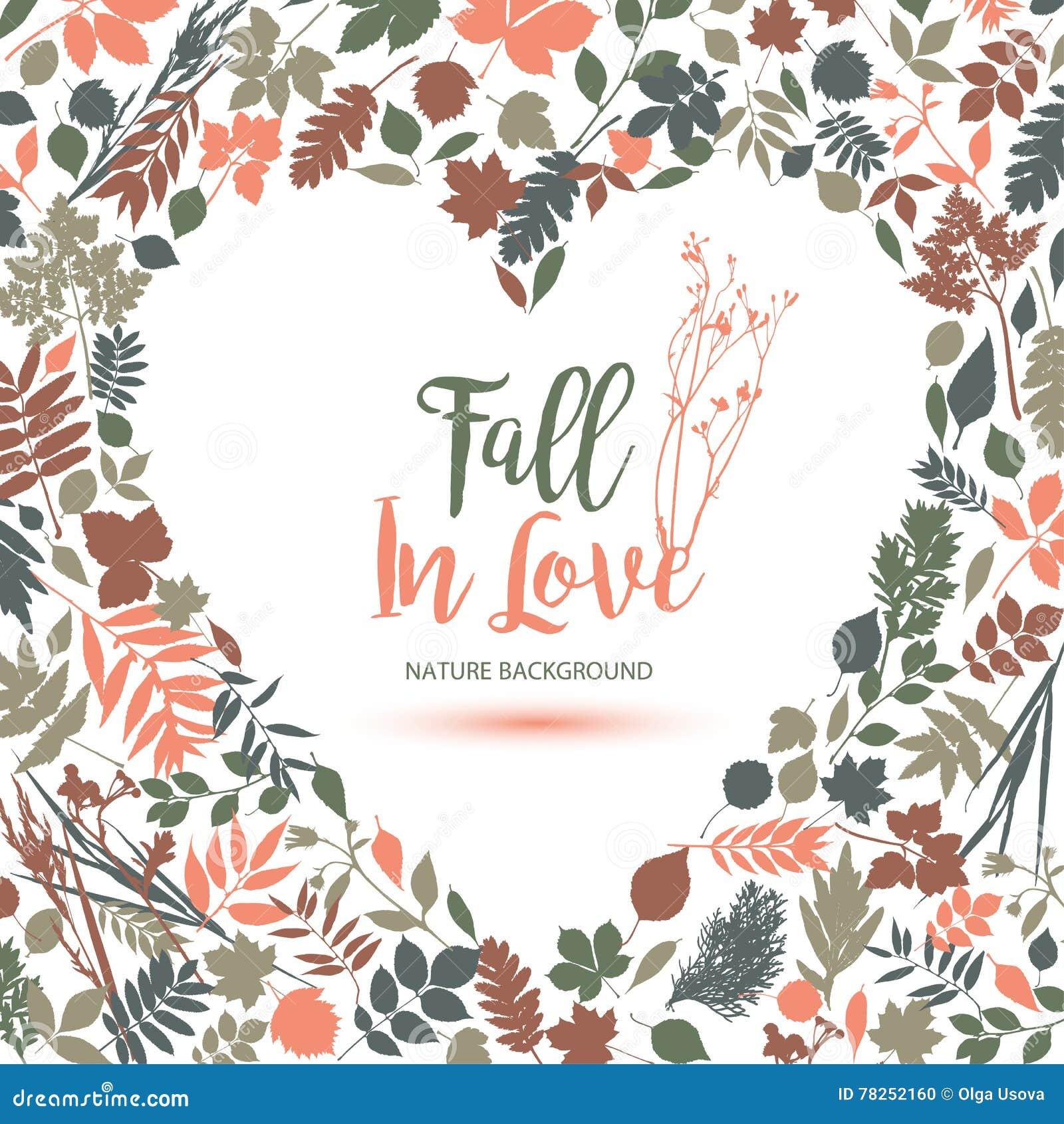 φθινόπωρο ι αγάπη Διανυσματική απεικόνιση σχεδίου με την καρδιά Πτώση σε Lo