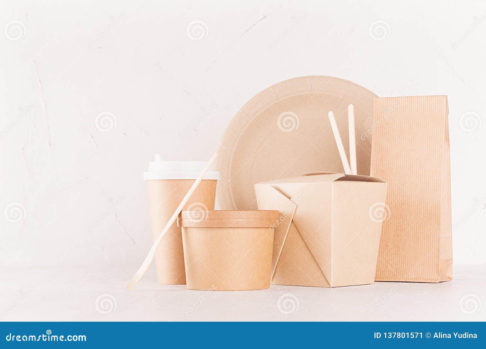Φιλική συσκευασία εγγράφου ανακύκλωσης Eco για το γρήγορο φαγητό, το πρότυπο για το σχέδιο, τη διαφήμιση και το μαρκάρισμα - κενή