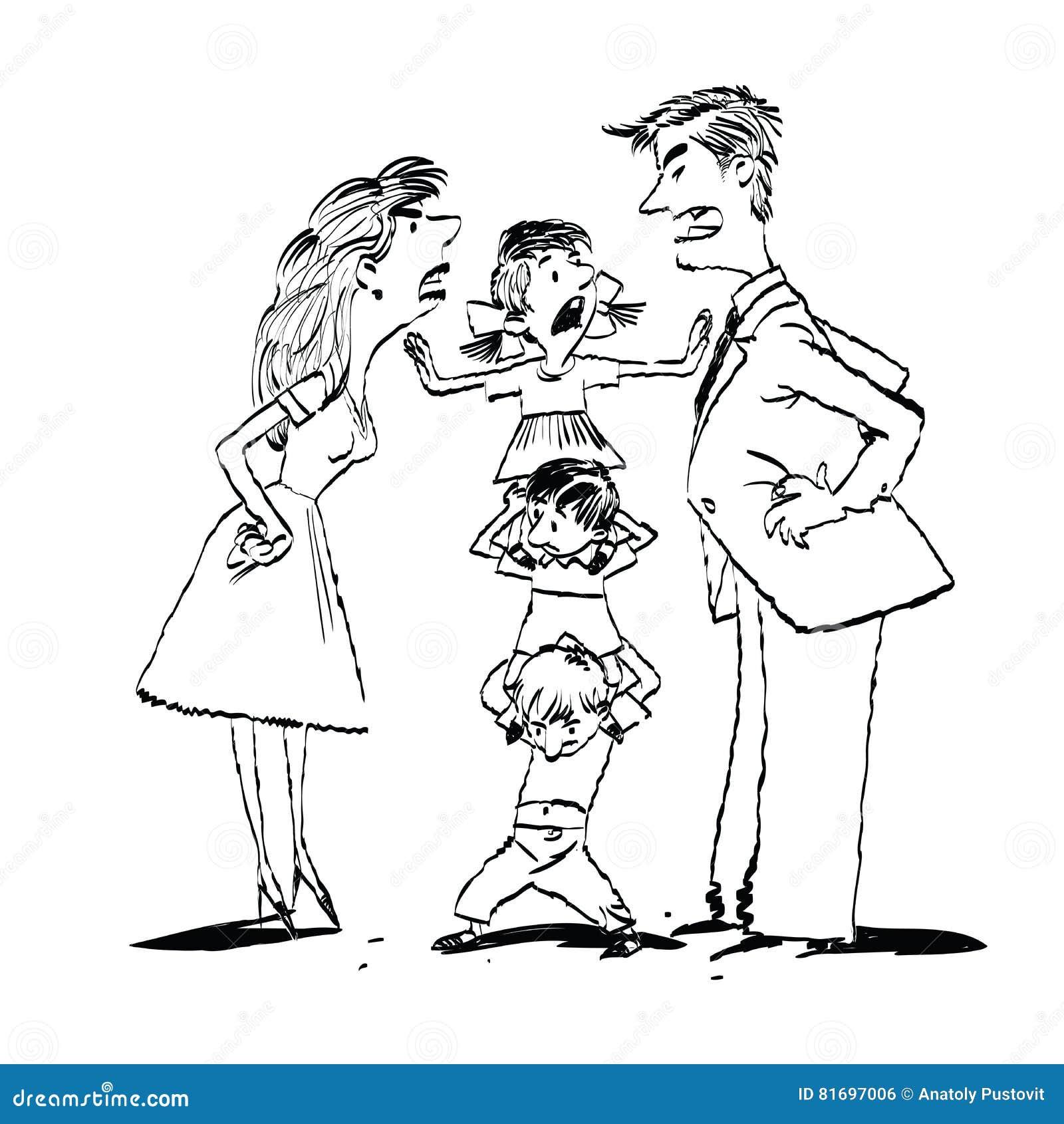 Φιλονικία στην οικογένεια, mom και την πάλη μπαμπάδων, ηρεμία παιδιών