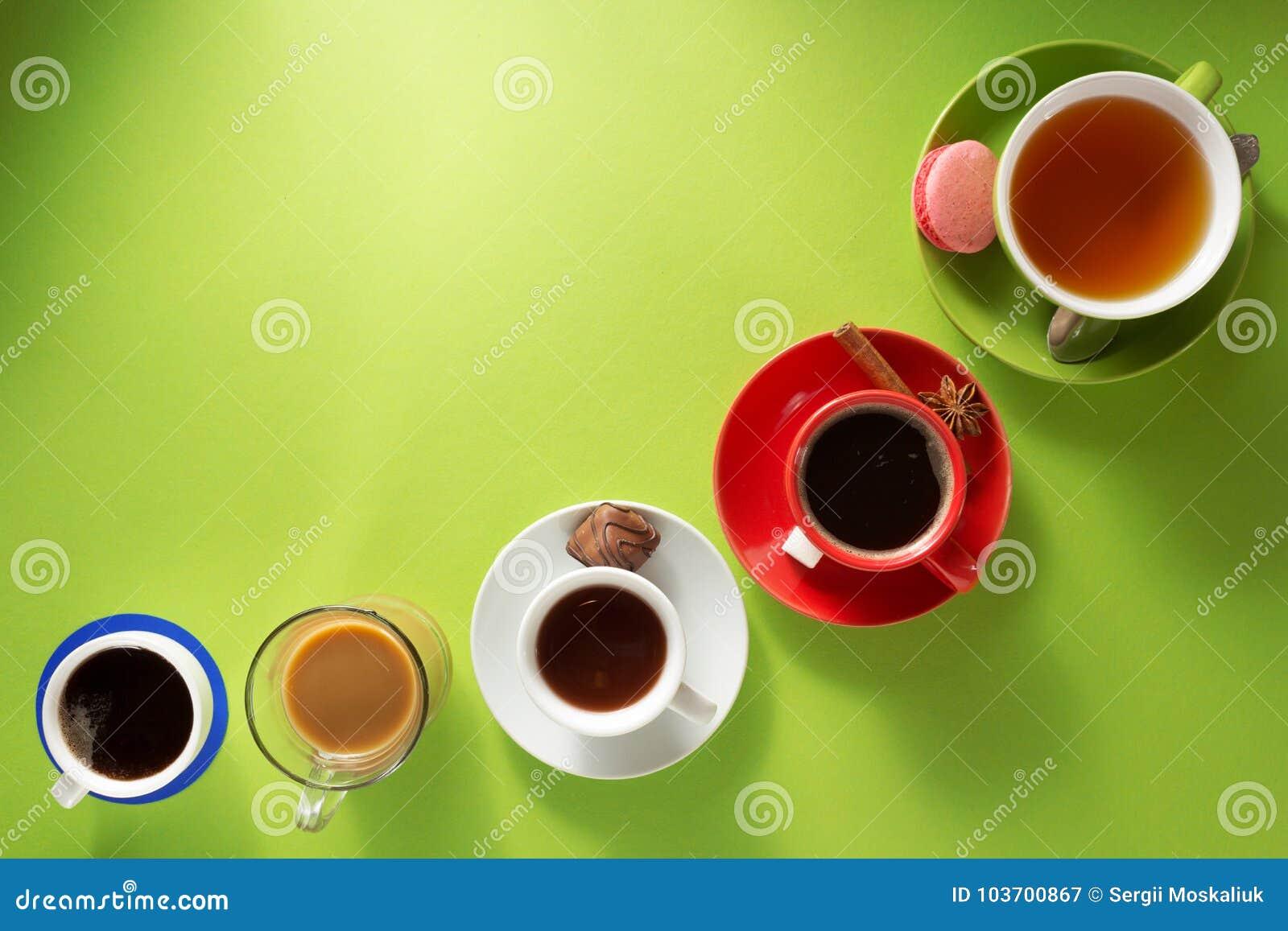 Φλιτζάνι του καφέ, τσάι και κακάο