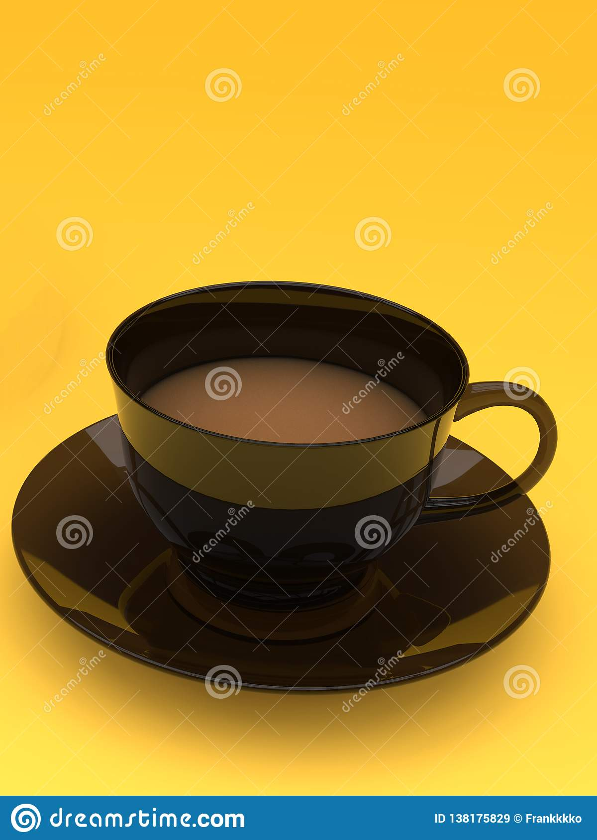 Φλυτζάνι καφέ γάλακτος, σκοτεινός κεραμικός, στο κίτρινο υπόβαθρο