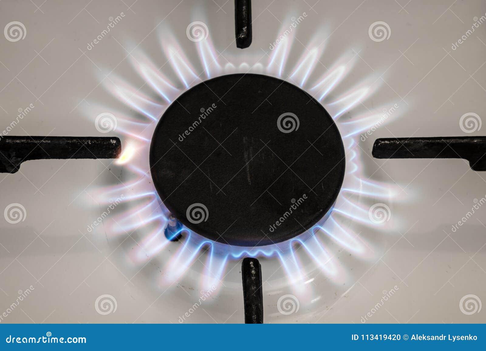 Φλόγα σομπών αερίου στην κουζίνα Μπλε φλόγα πυρκαγιάς από τη σόμπα