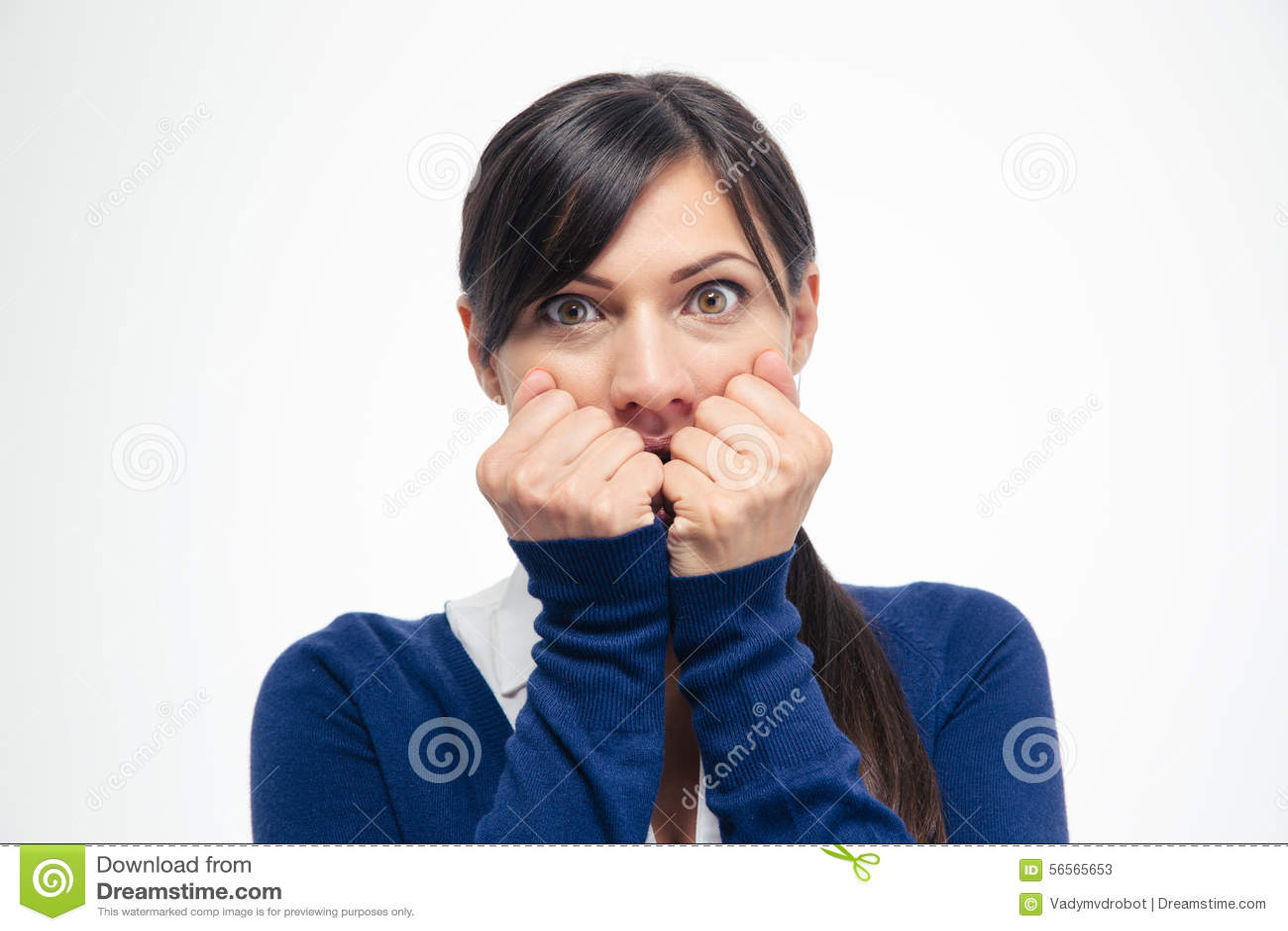 Download Φοβησμένη επιχειρηματίας που εξετάζει τη κάμερα Στοκ Εικόνα - εικόνα από φρίκη, scary: 56565653