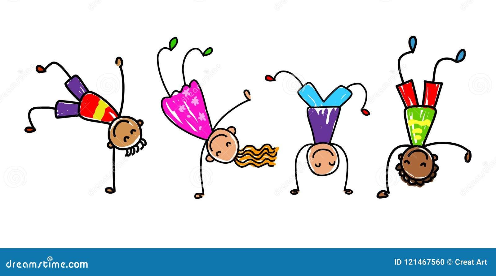 φοβιτσιάρη κατσίκια Διανυσματική απεικόνιση παιδιών κινούμενων σχεδίων