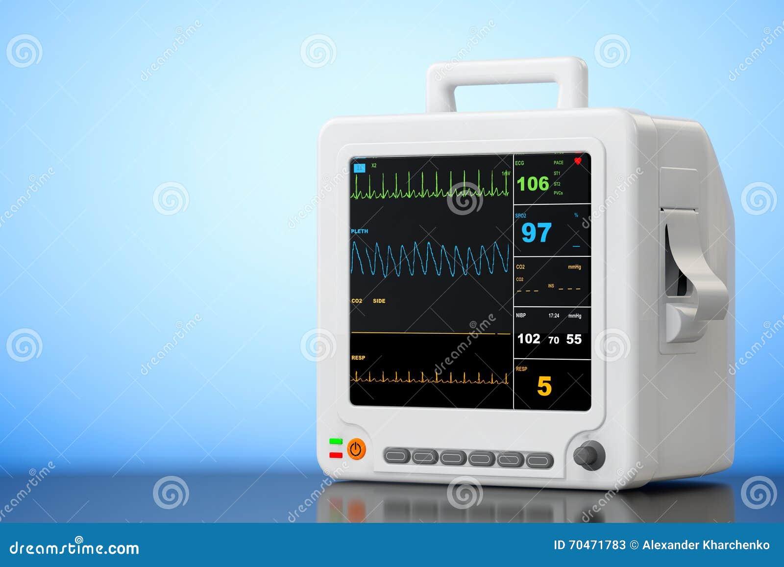 Φορητός καρδιακός εξοπλισμός ελέγχου υγειονομικής περίθαλψης τρισδιάστατη απόδοση