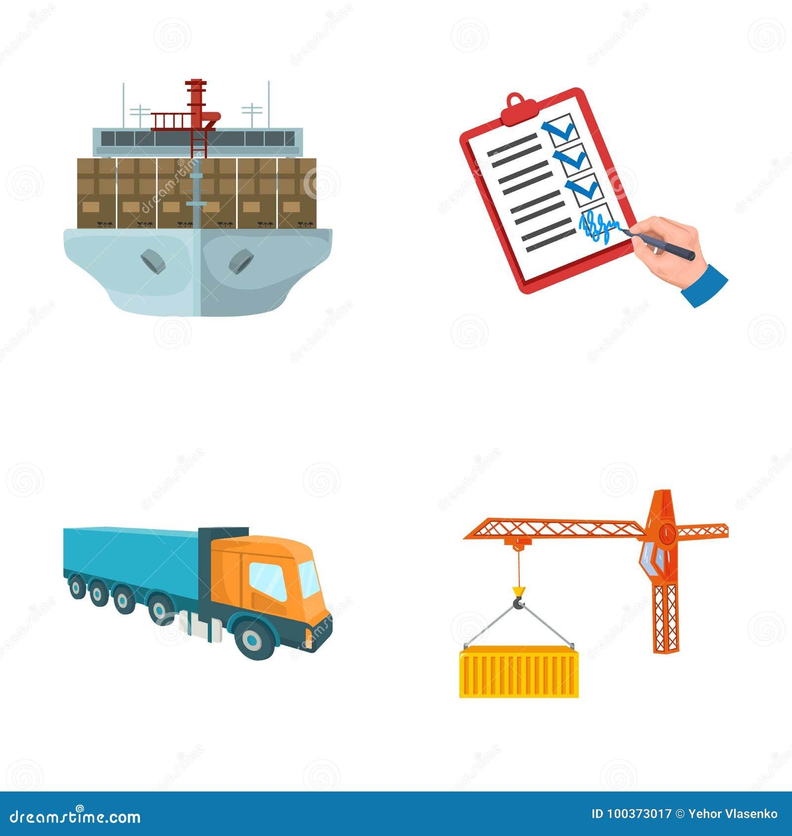 Φορτίο θάλασσας, υπογραφή των εγγράφων παράδοσης, φορτηγό, γερανός πύργων με ένα εμπορευματοκιβώτιο Καθορισμένη συλλογή διοικητικ