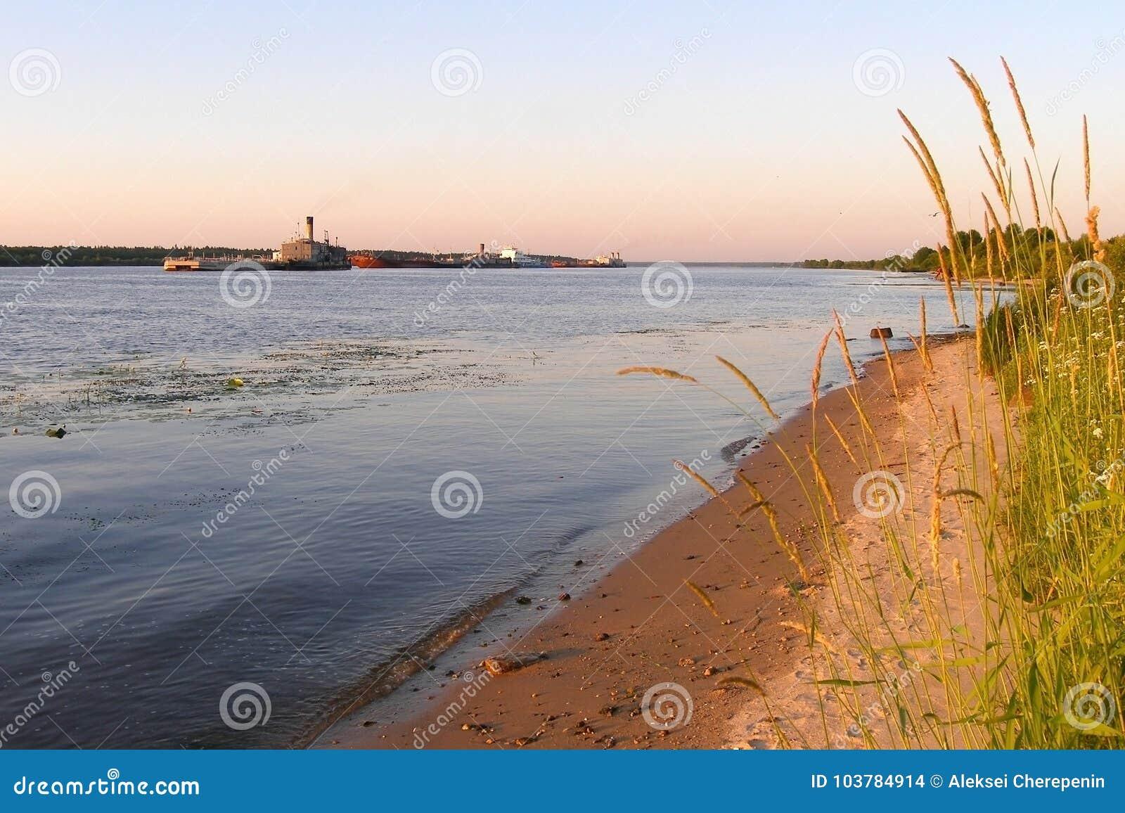 Φορτηγίδες και κουκκιστήρια στον ποταμό του Βόλγα το καλοκαίρι, αμμώδης όχθη ποταμού, περιοχή Yaroslavl