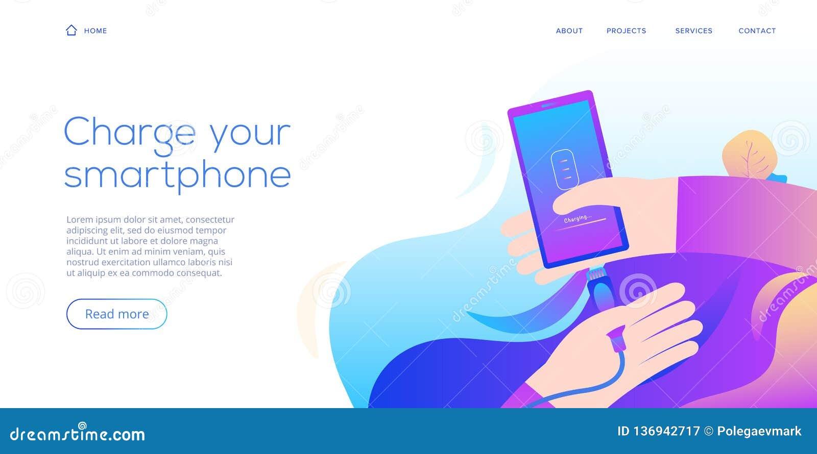 Φορτιστής smartphone καλωδίων στην επίπεδη απεικόνιση σχεδίου Αφηρημένο διανυσματικό υπόβαθρο για την κινητή συσκευή χρέωσης σκοι
