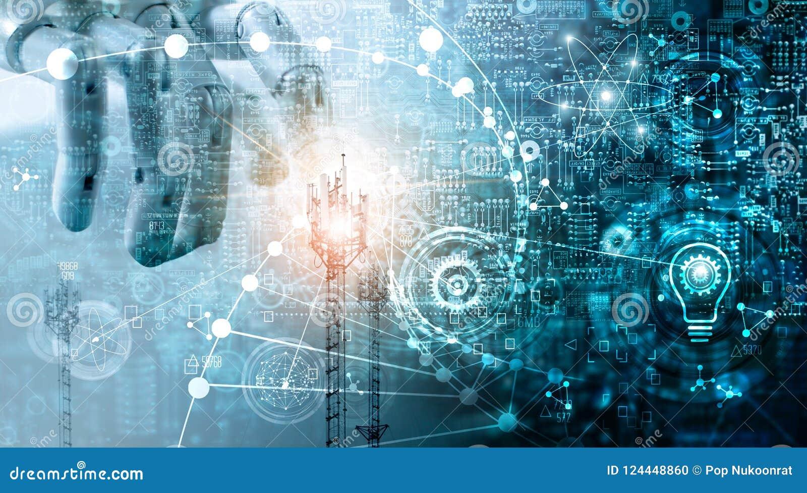 Φουτουριστική έννοια τεχνολογίας, συστήματα δεδομένων καινοτομιών