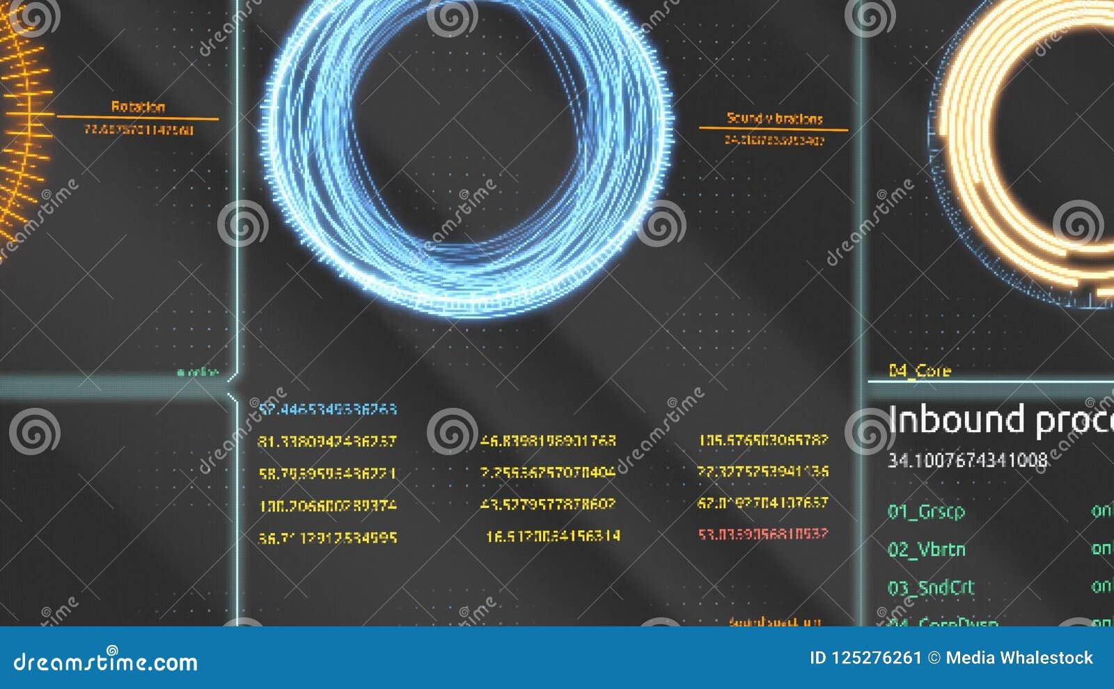 φουτουριστική διαπροσωπεία Ψηφιακή οθόνη Υπερβολικό λεπτομερές αφηρημένο ψηφιακό υπόβαθρο Αναβοσβήνοντας και μεταστρέφοντας δείκτ