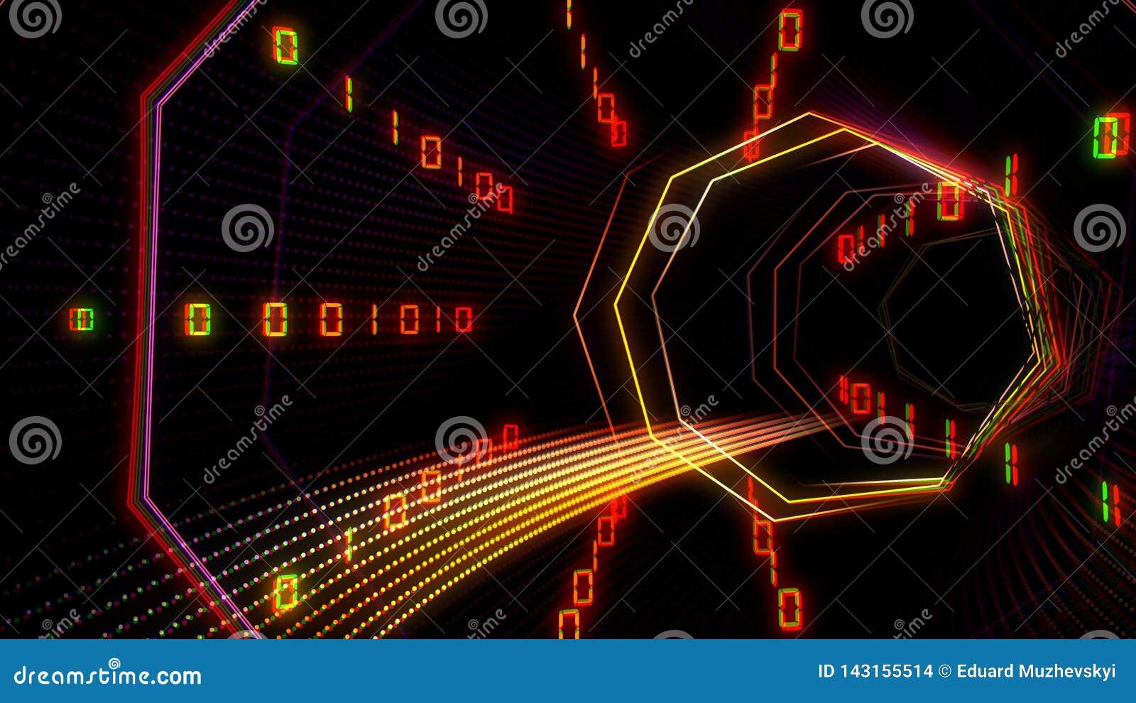 Φουτουριστική σήραγγα κυβερνοχώρου τεχνολογίας με την απεικόνιση ρευμάτων πληροφοριών