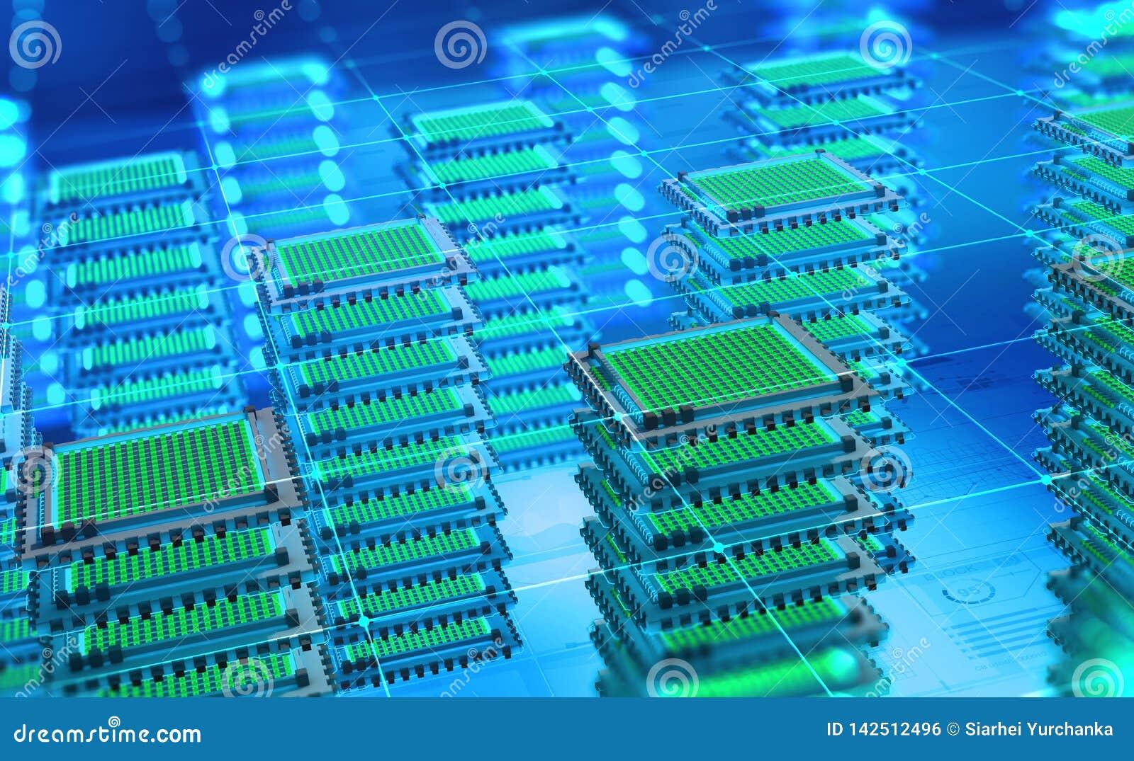 Φουτουριστικό κέντρο δεδομένων Μεγάλη πλατφόρμα analytics στοιχείων Κβαντικός επεξεργαστής στο παγκόσμιο δίκτυο υπολογιστών
