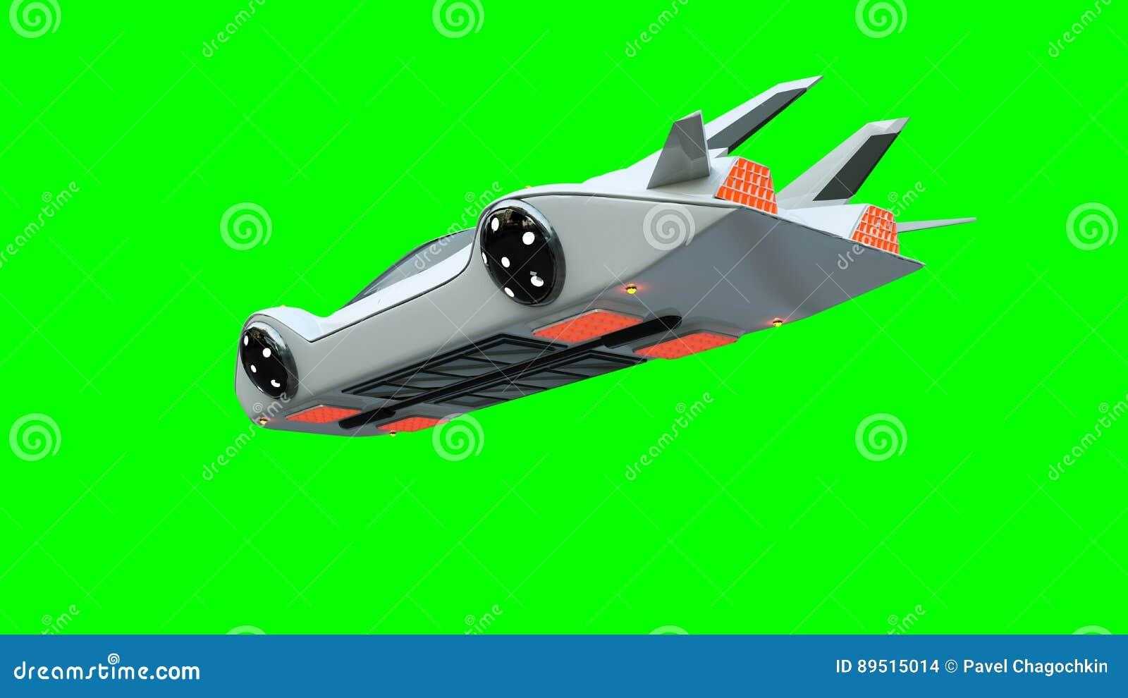 Φουτουριστικό πετώντας αυτοκίνητο Μεταφορά του μέλλοντος απομονώστε τρισδιάστατη απόδοση