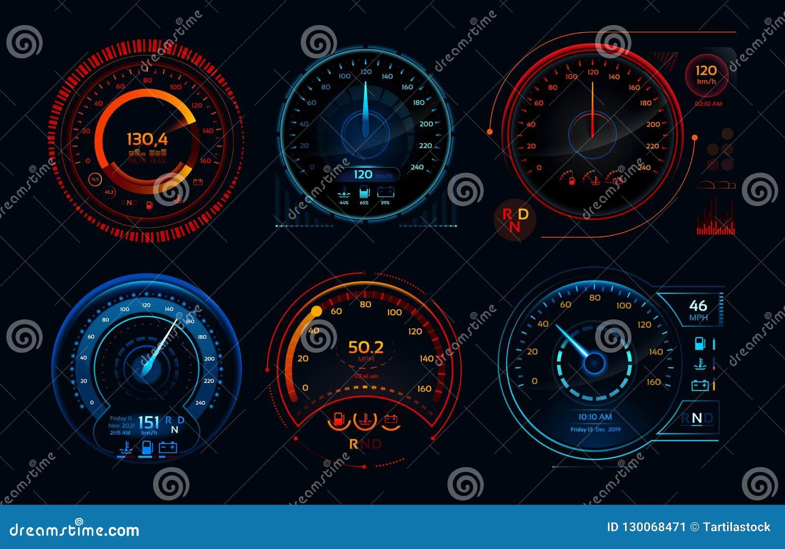 Φουτουριστικό ταχύμετρο αυτοκινήτων Αναλογικές επιτροπές επιπέδων ταμπλό, αερίου και καυσίμων δεικτών απόδοσης χιλιομέτρου ταχύτη