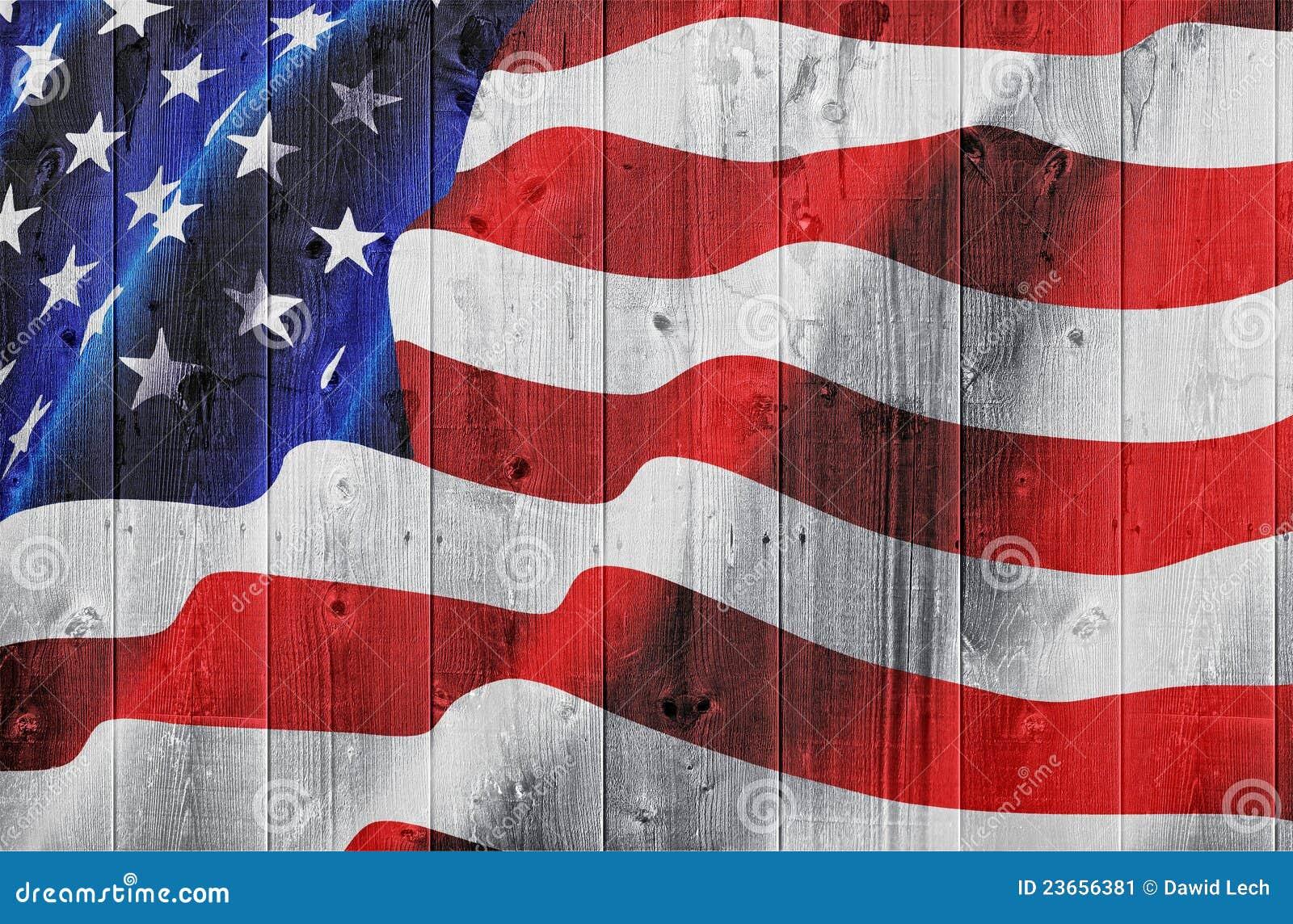 φράκτης αμερικανικών σημαιών ξύλινος