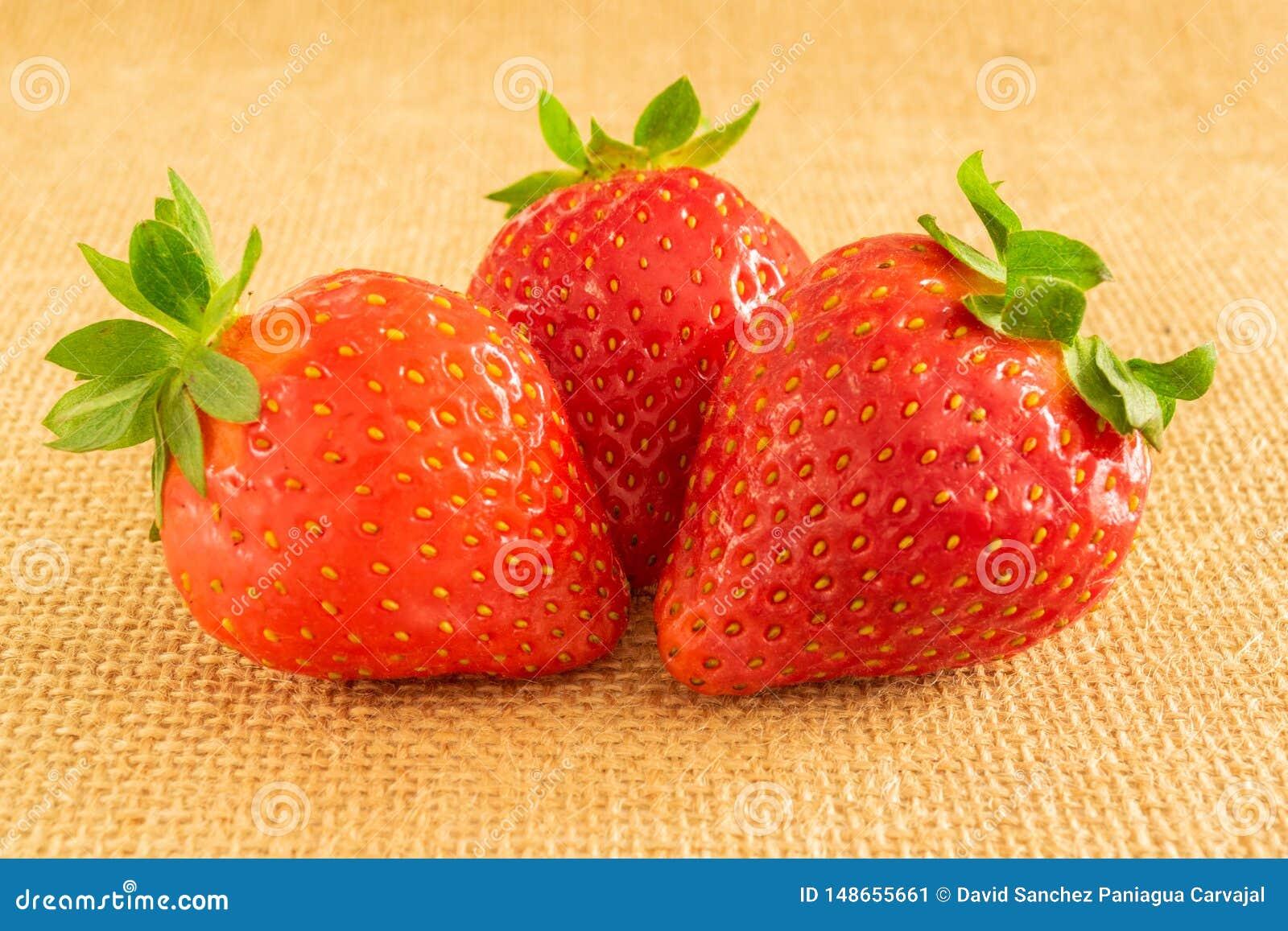 Φράουλες στο υφαντικό υπόβαθρο