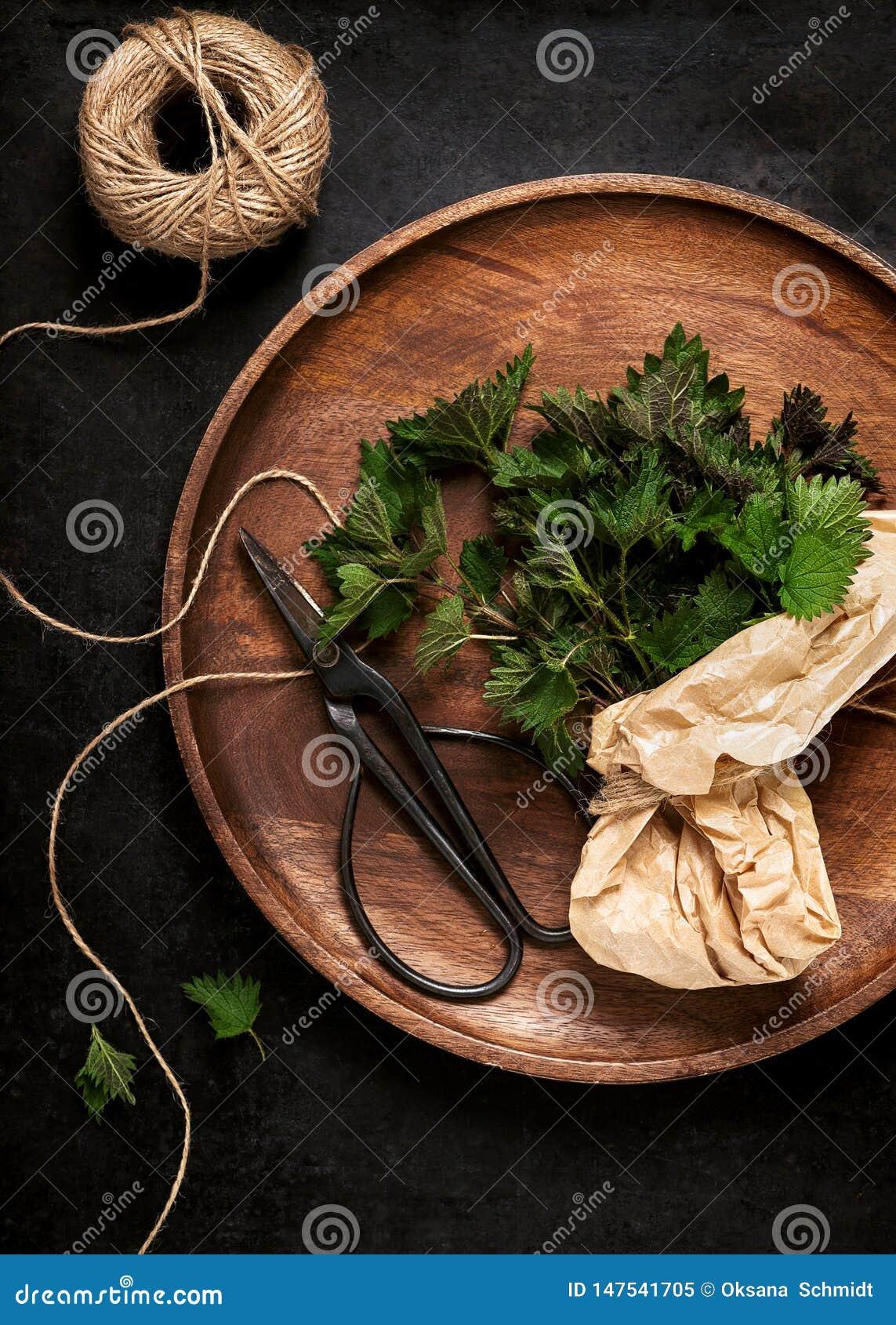 Φρέσκα νέα nettle τσιμπήματος φύλλα σε ένα ξύλινο πατέ
