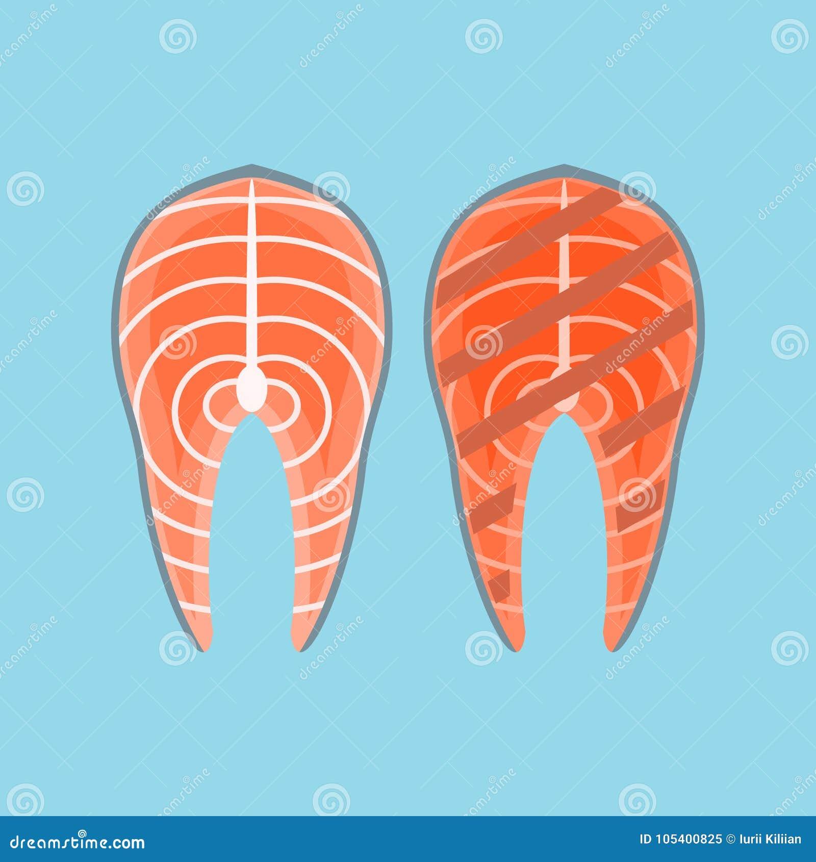 Download Φρέσκια και ψημένη στη σχάρα μπριζόλα σολομών Επίπεδη διανυσματική απεικόνιση ύφους Διανυσματική απεικόνιση - εικονογραφία από τρόφιμα, απομονωμένος: 105400825