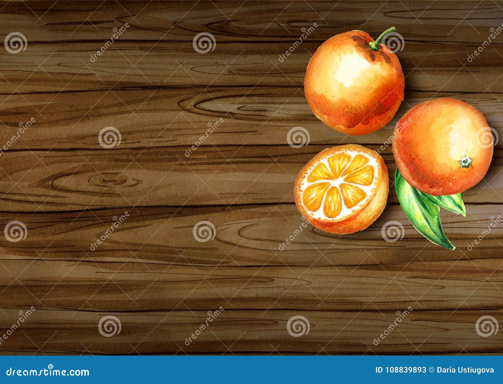 Φρέσκια τοπ άποψη πορτοκαλιών σχετικά με τα σύνορα φυσικός οργανικός τροφίμ&o Συρμένη χέρι ανασκόπηση Watercolor