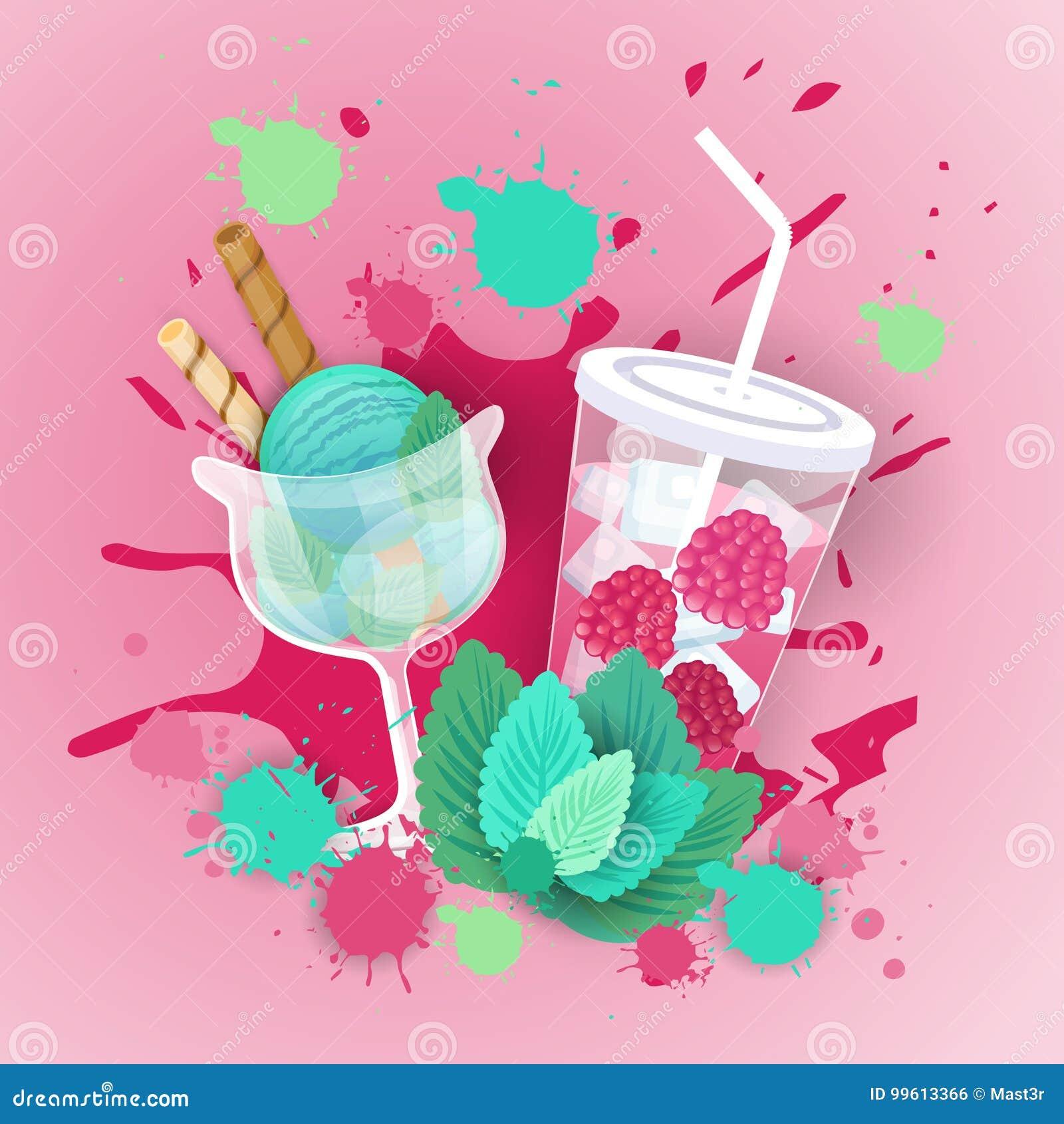 Φρέσκο παγωτό με κοκτέιλ λογότυπων το γλυκό όμορφο έμβλημα τροφίμων επιδορπίων εύγευστο