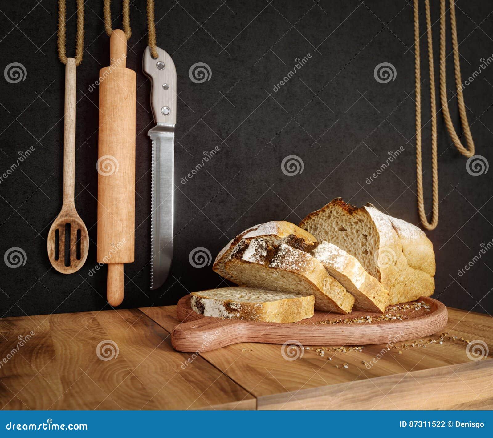 Φρέσκο ψωμί με τη βρώμη που τεμαχίζεται σε ένα τέμνον διάστημα αντιγράφων υποβάθρου φωτογραφιών πινάκων πλακών