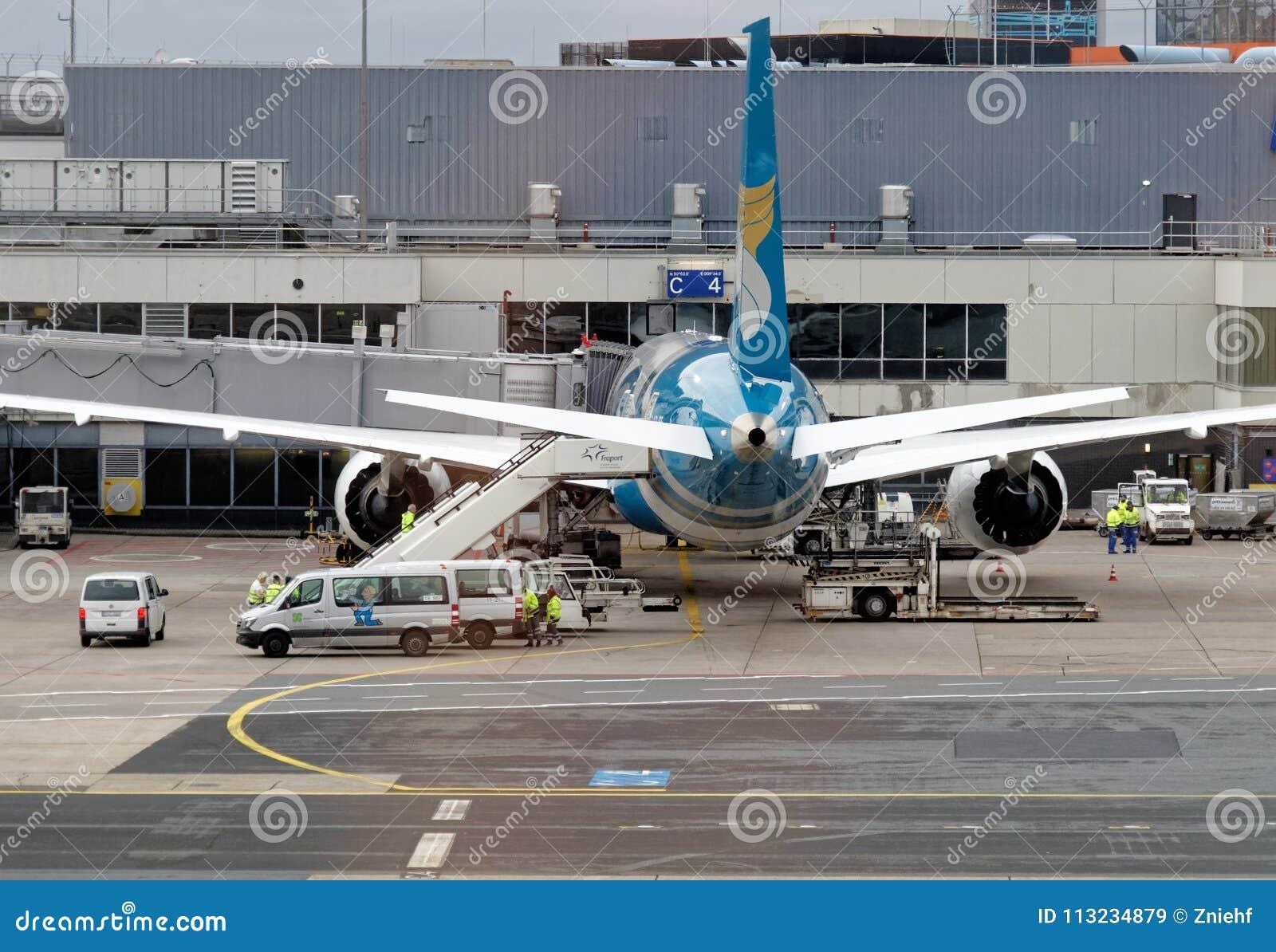 Φρανκφούρτη, Hesse, Γερμανία, στις 13 Μαρτίου 2018: Αεροσκάφη στον αερολιμένα tarmac, οπισθοσκόπος
