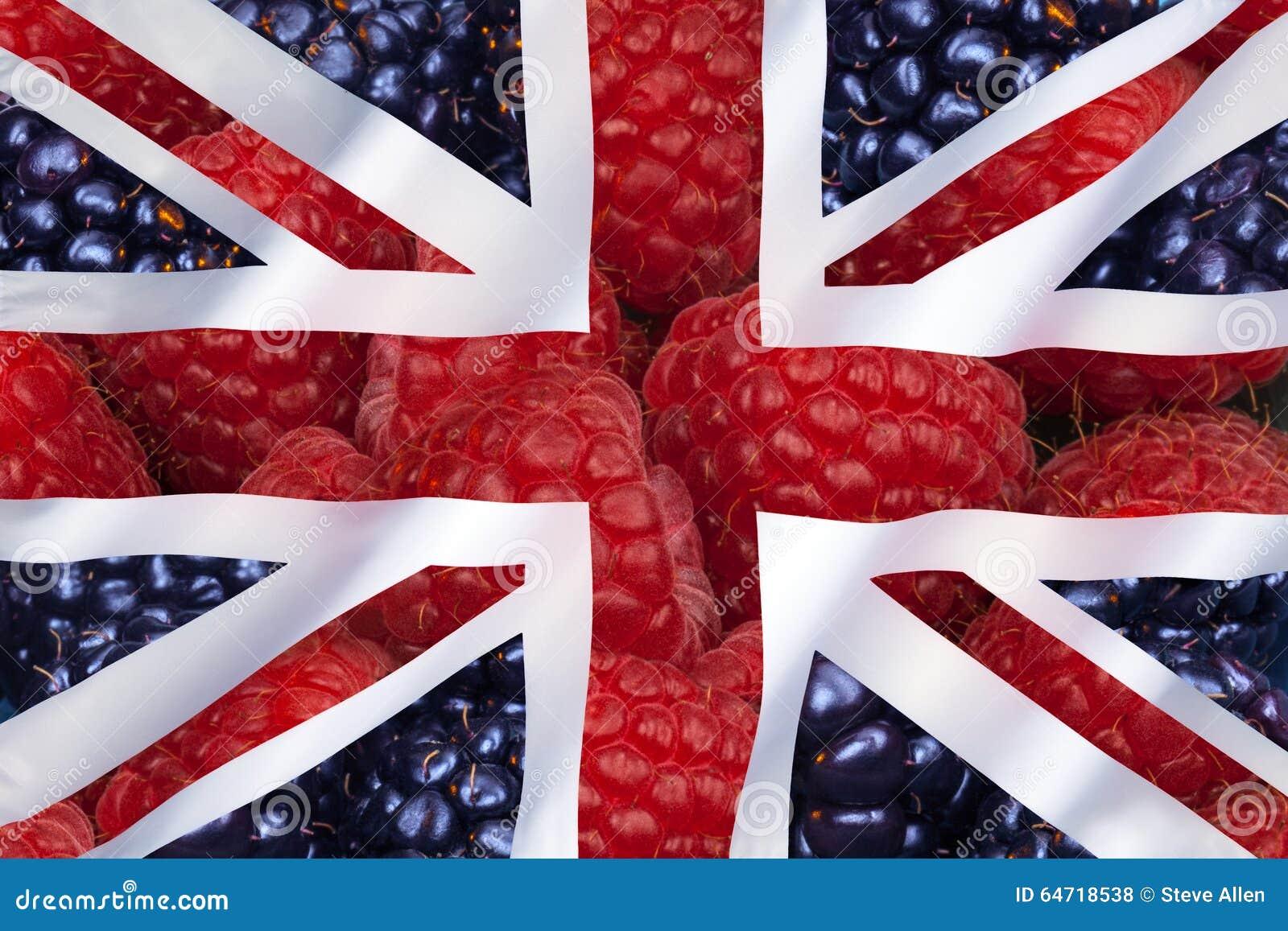 Φρούτα και σημαία του Ηνωμένου Βασιλείου
