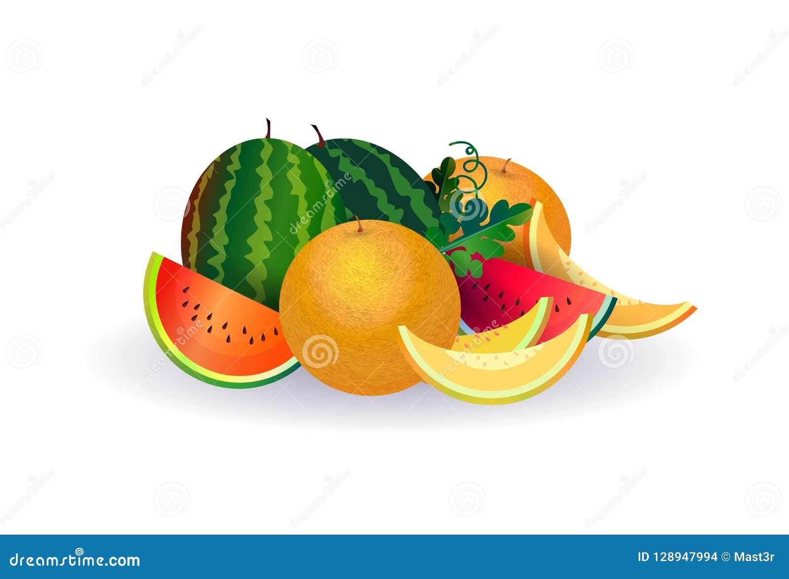 Φρούτα πεπονιών καρπουζιών στο άσπρο υπόβαθρο, τον υγιή τρόπο ζωής ή την έννοια διατροφής, λογότυπο για τους νωπούς καρπούς