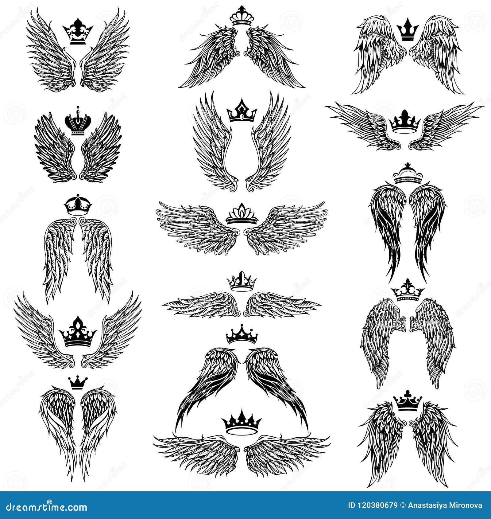 Φτερά με τις διανυσματικές σκιαγραφίες κορωνών