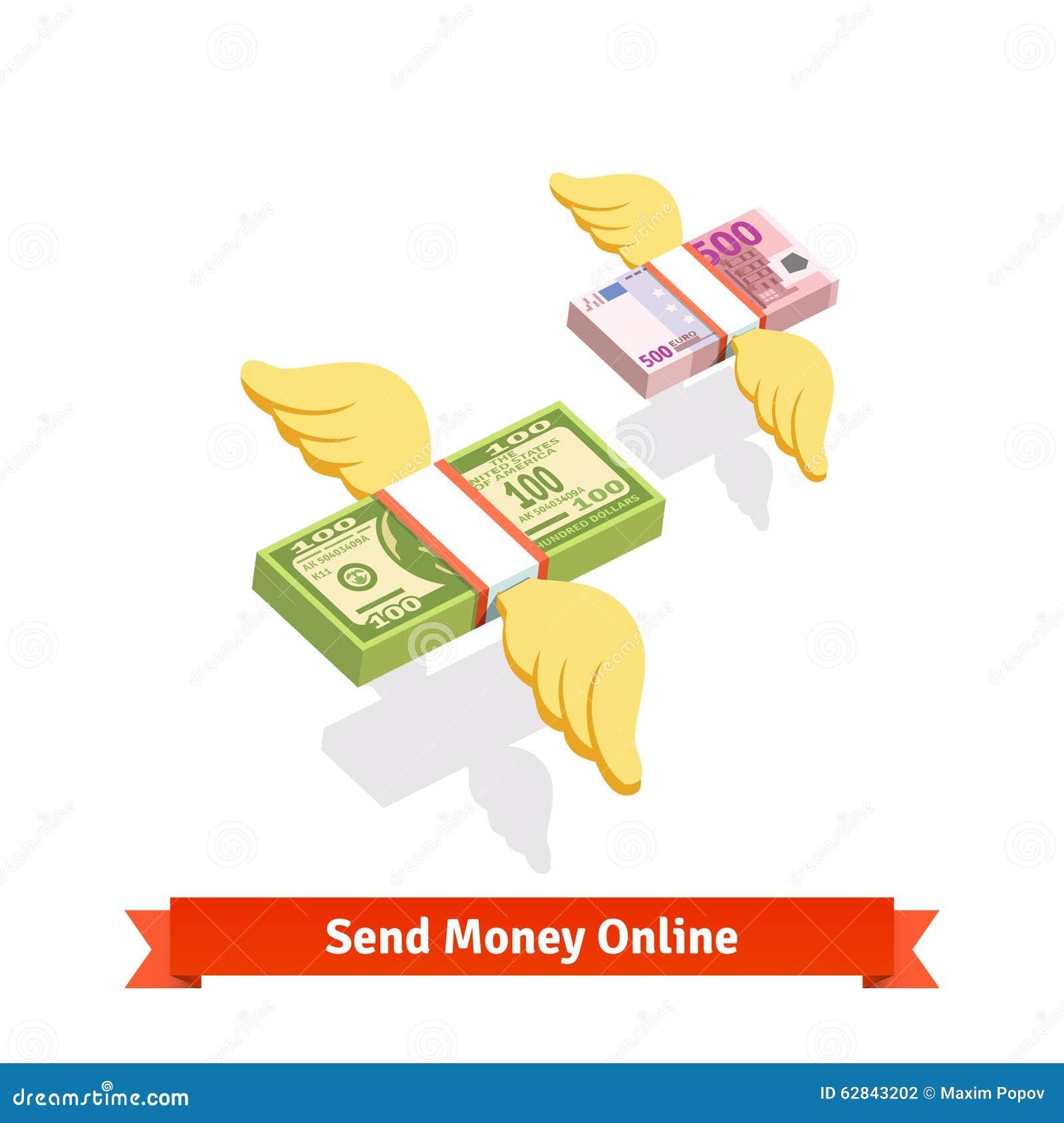 Φτερωτό ενωμένο δολάριο και ευρο- πέταγμα πακέτων λογαριασμών