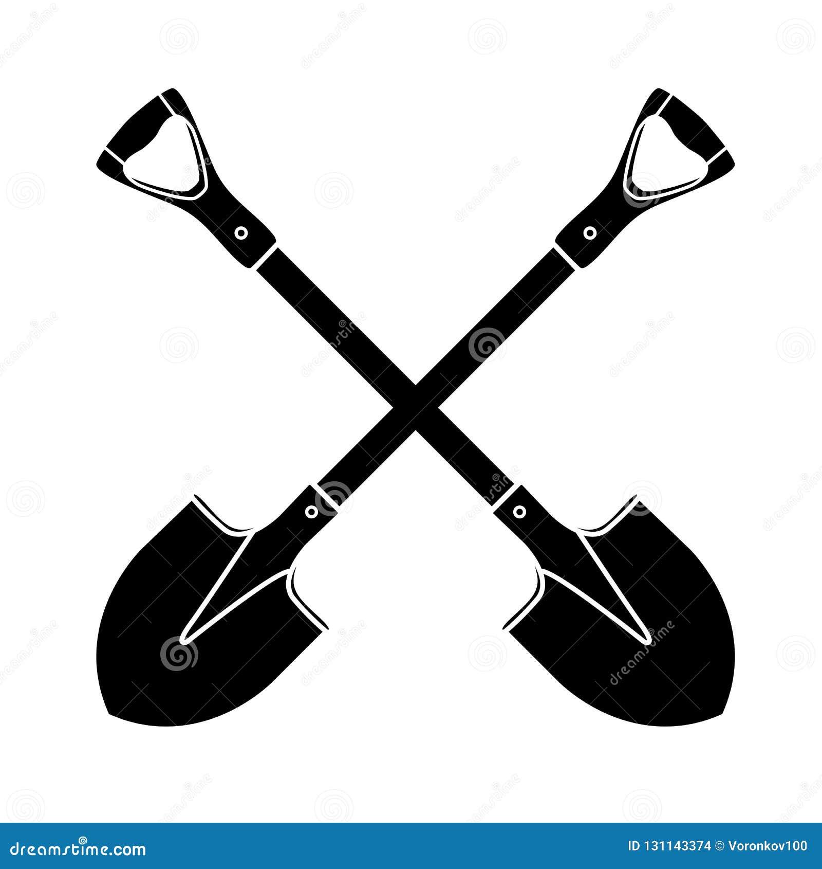 Φτυάρι, φτυάρι, εικονίδιο σκιαγραφιών στο απομονωμένο υπόβαθρο Εξοπλισμός κήπων Θερινή εργασία άνοιξης Αγροτικά εργαλεία για τις