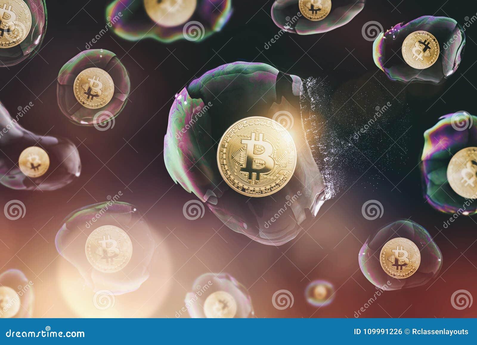 Φυσαλίδα Bitcoin που εκρήγνυται - ψηφιακή εικόνα έννοιας cryptocurrency